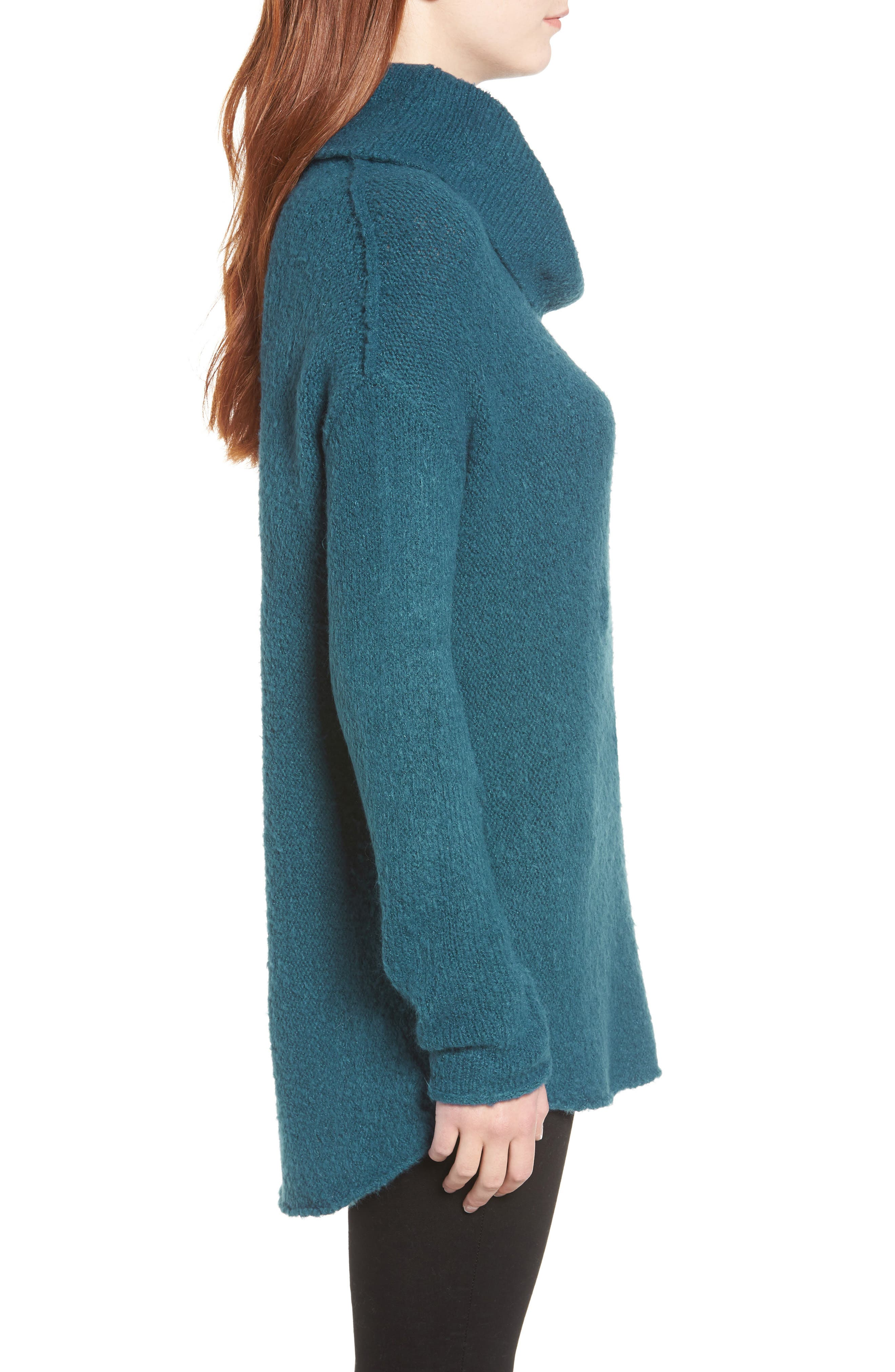 Tunic Sweater,                             Alternate thumbnail 3, color,                             TEAL CORAL