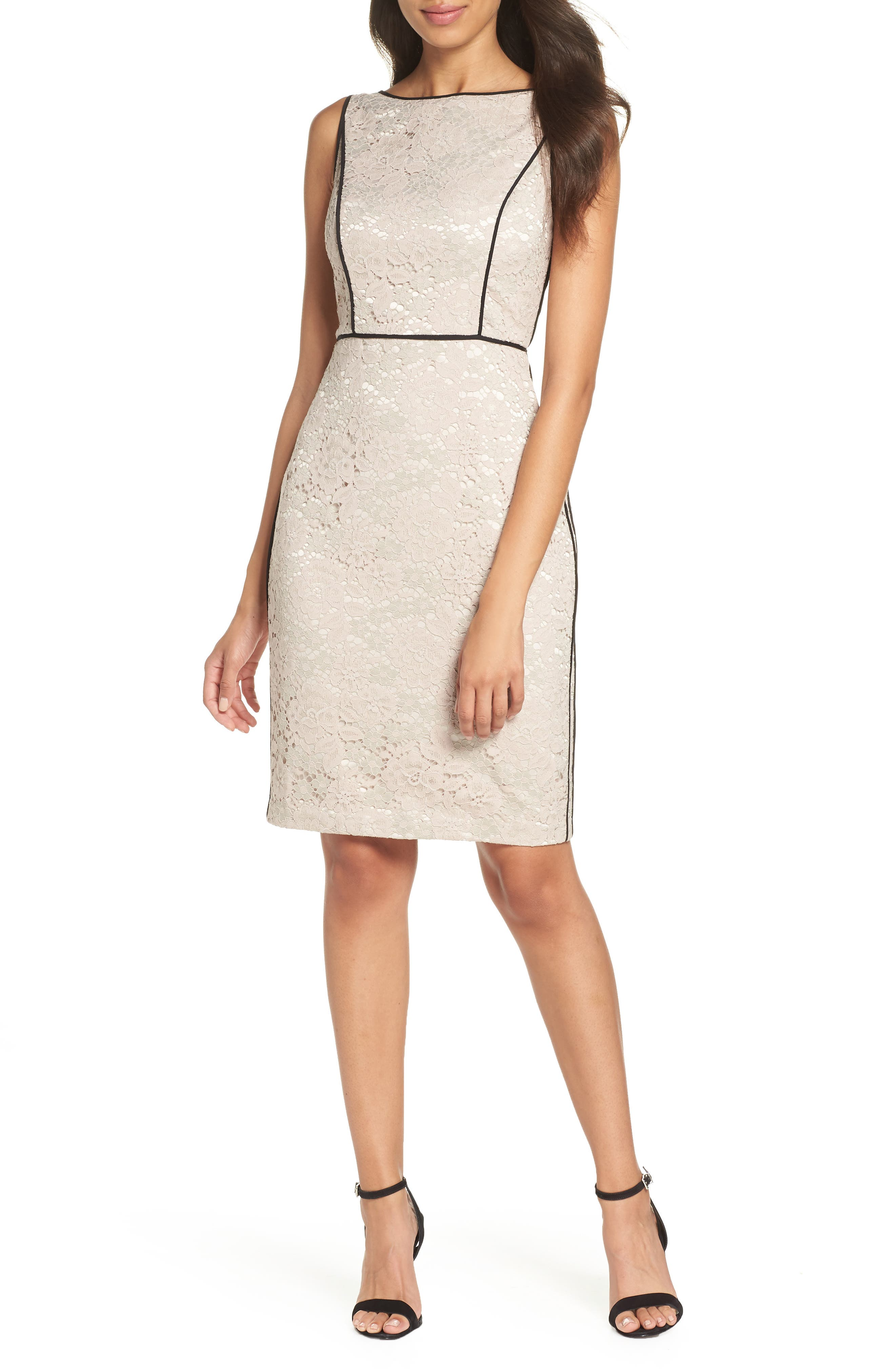 Piped Lace Sheath Dress,                             Main thumbnail 1, color,                             256