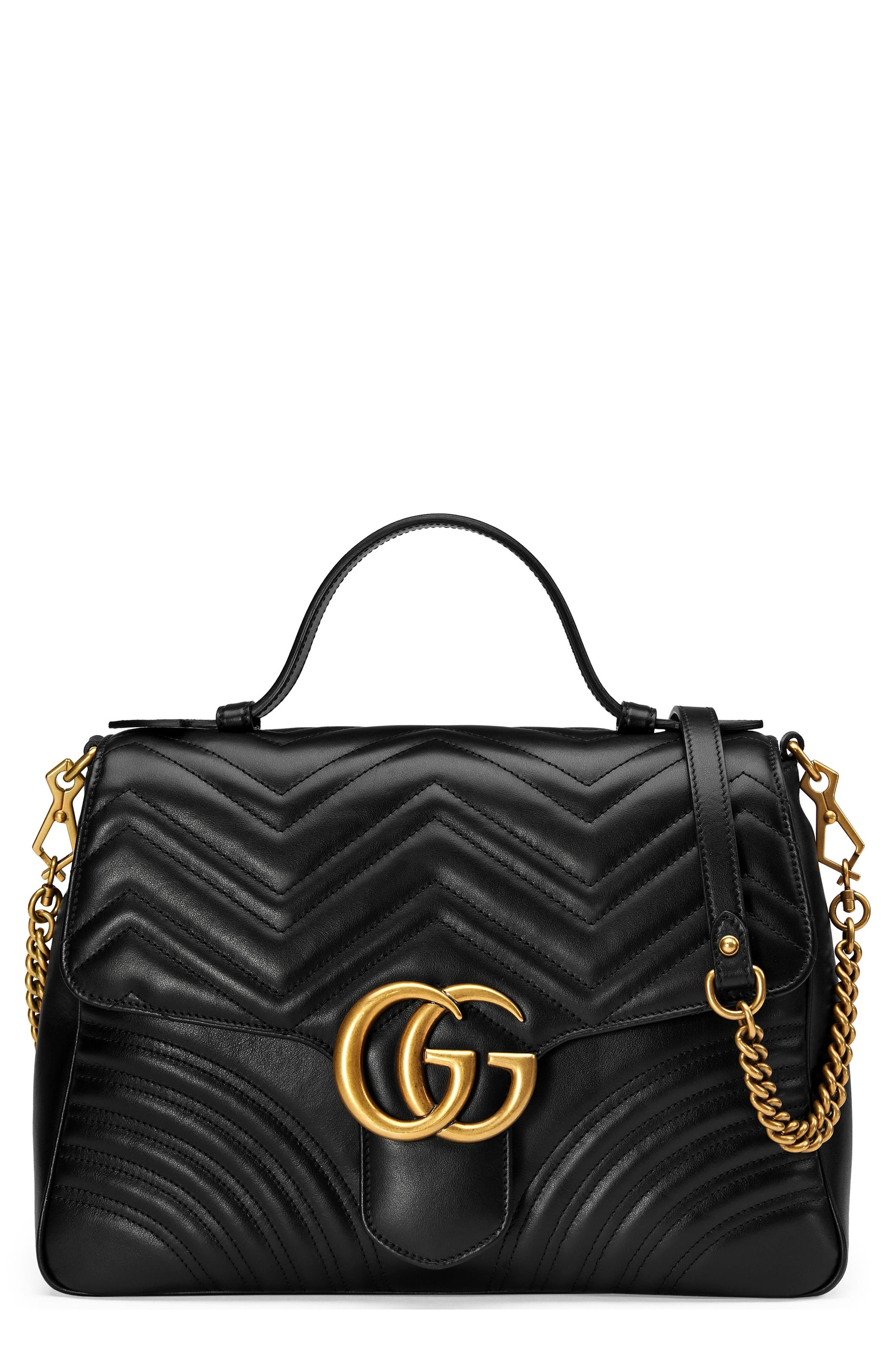 Medium GG Marmont 2.0 Matelassé Leather Top Handle Bag,                             Main thumbnail 1, color,                             005