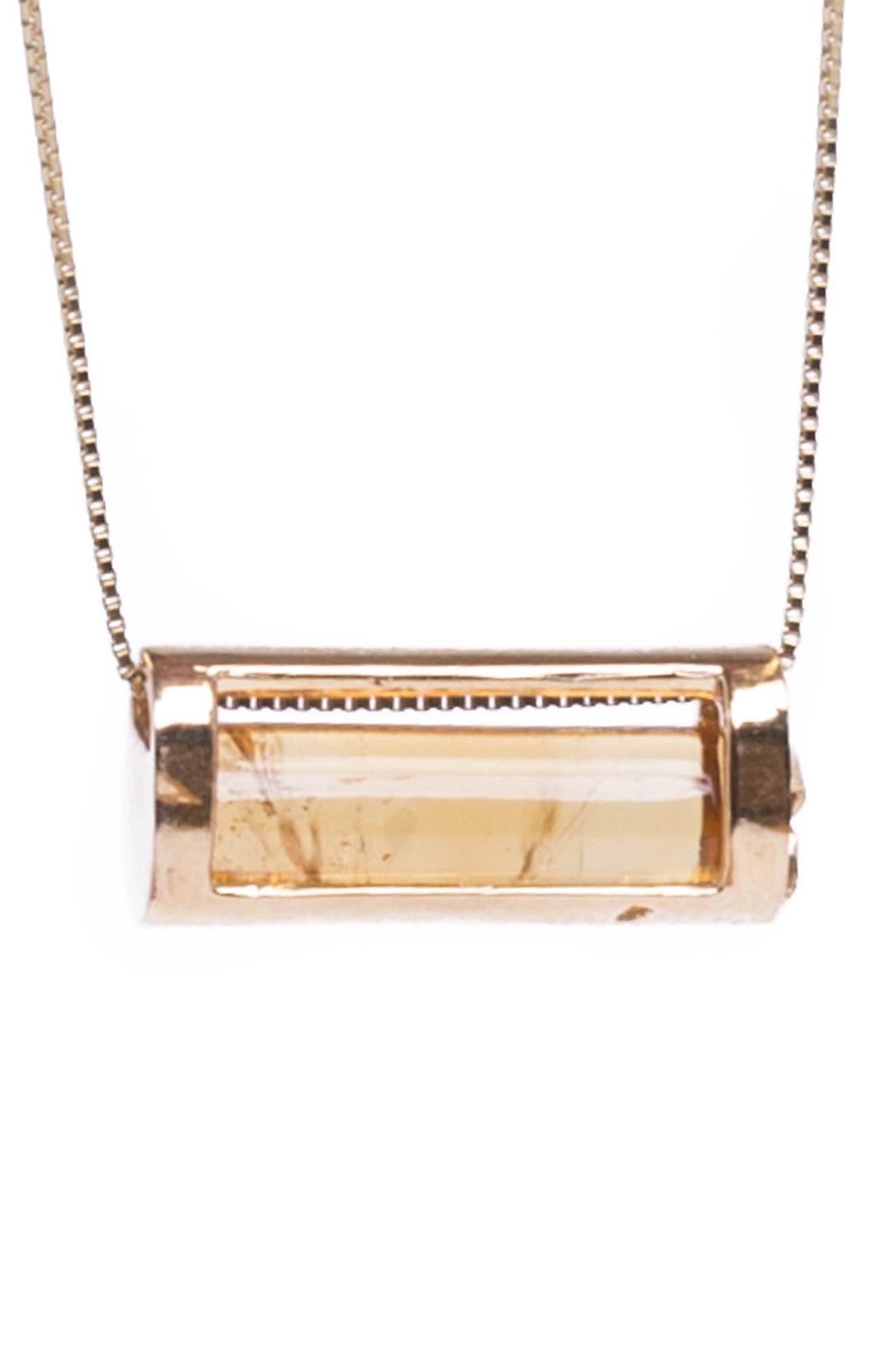 Congés Success & Comfort Citrine Barrel Pendant Necklace,                         Main,                         color, 710