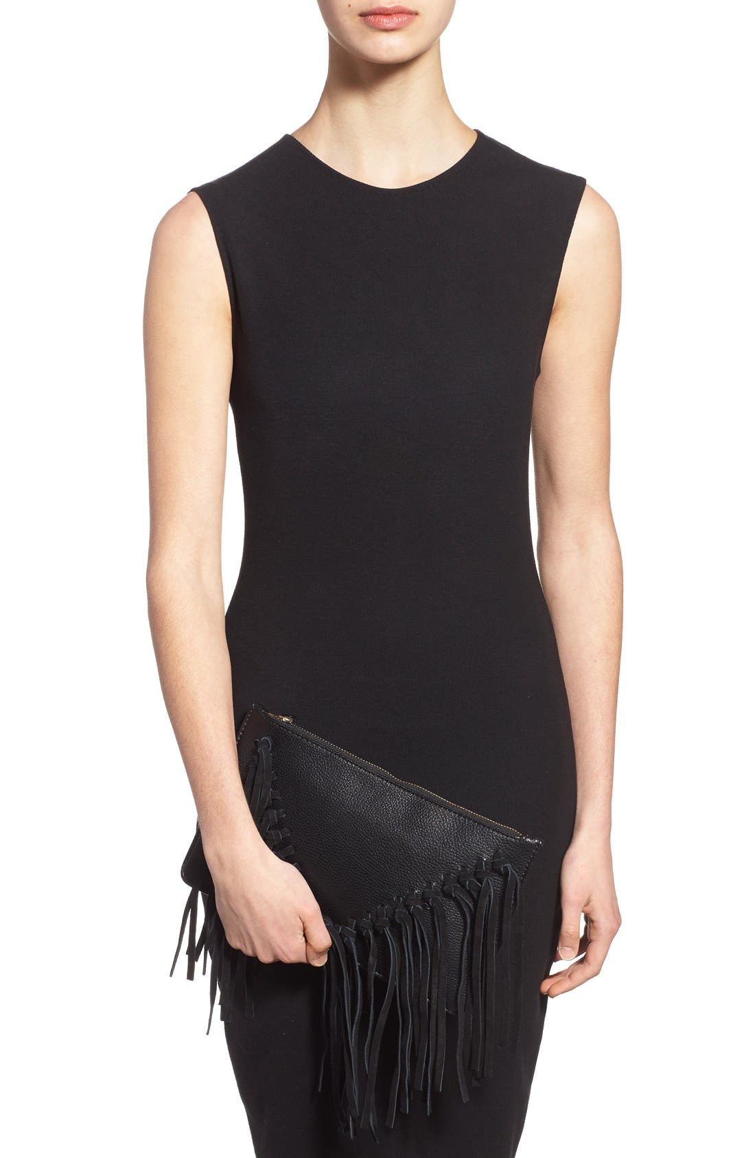 Suede Fringe Clutch,                             Alternate thumbnail 6, color,                             001