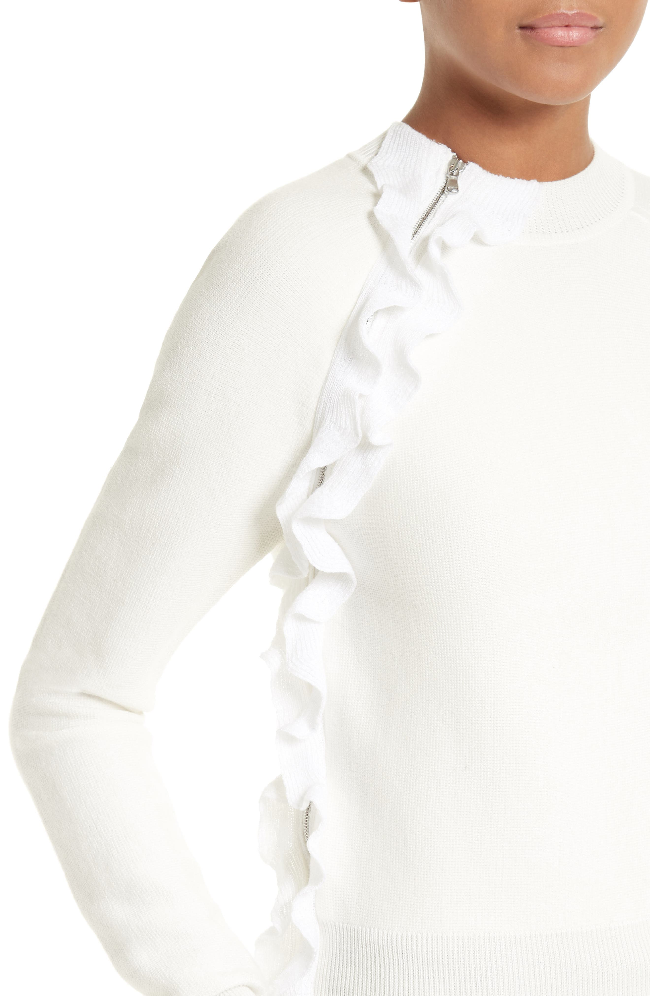 Ruffle Front Zip Pullover,                             Alternate thumbnail 4, color,