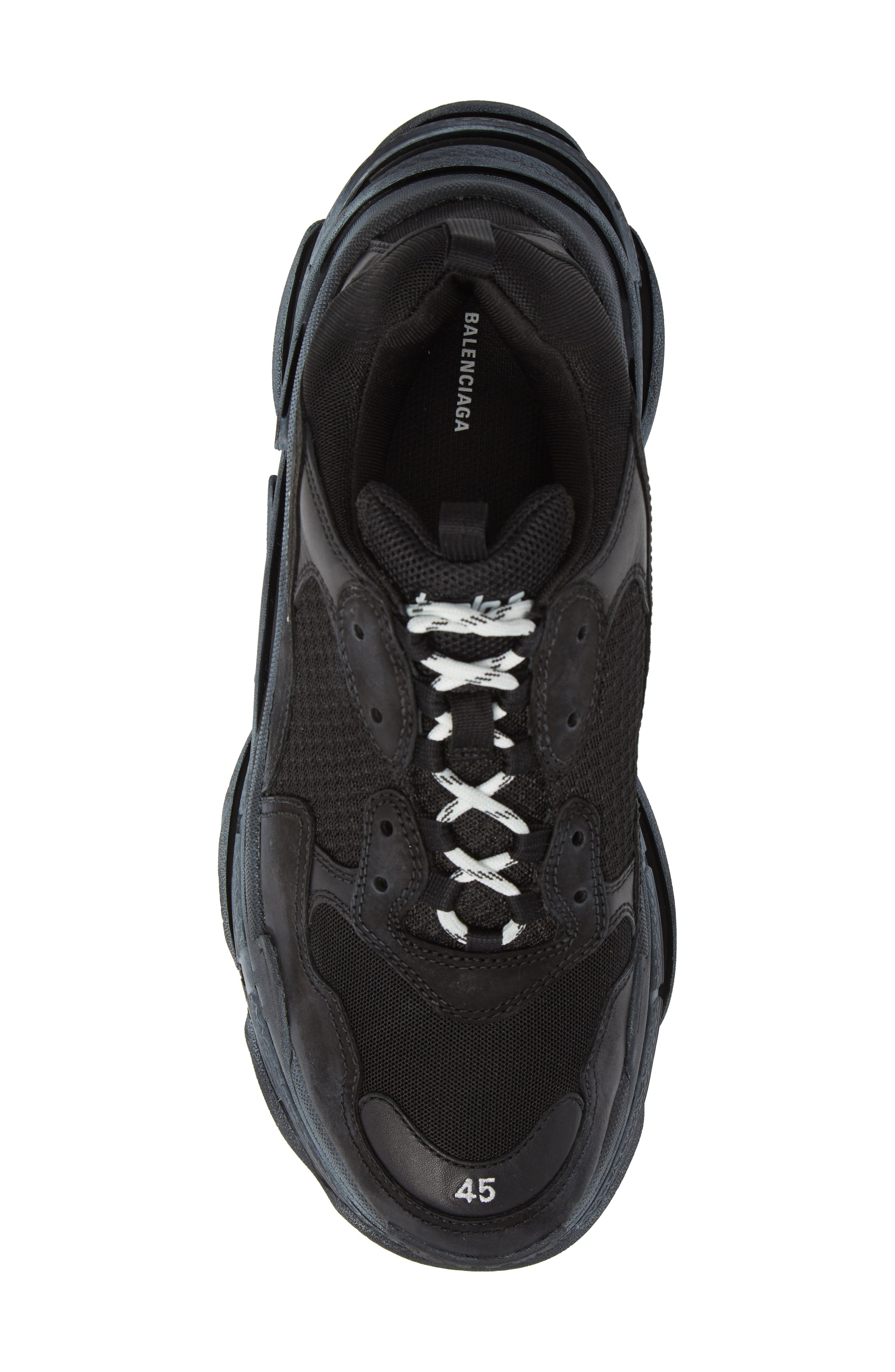 Triple S Retro Sneaker,                             Alternate thumbnail 5, color,                             NOIR