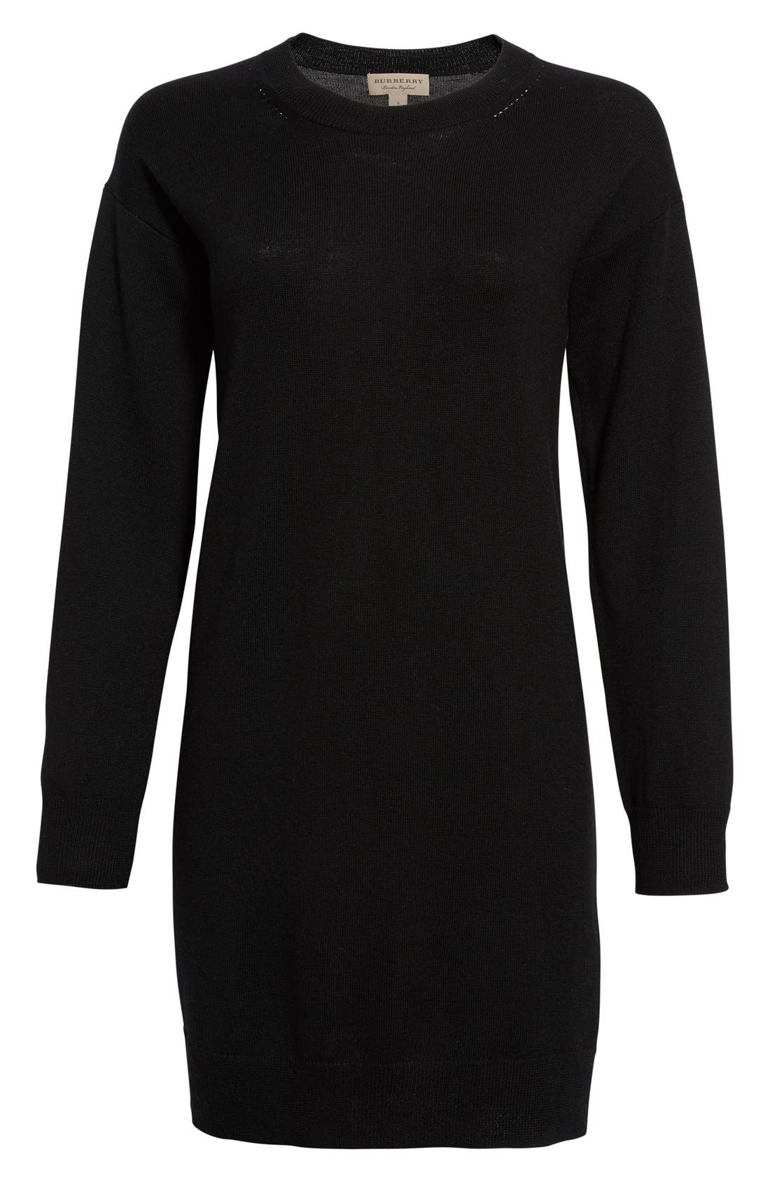 Alewater Elbow Patch Merino Wool Dress,                             Alternate thumbnail 11, color,                             BLACK