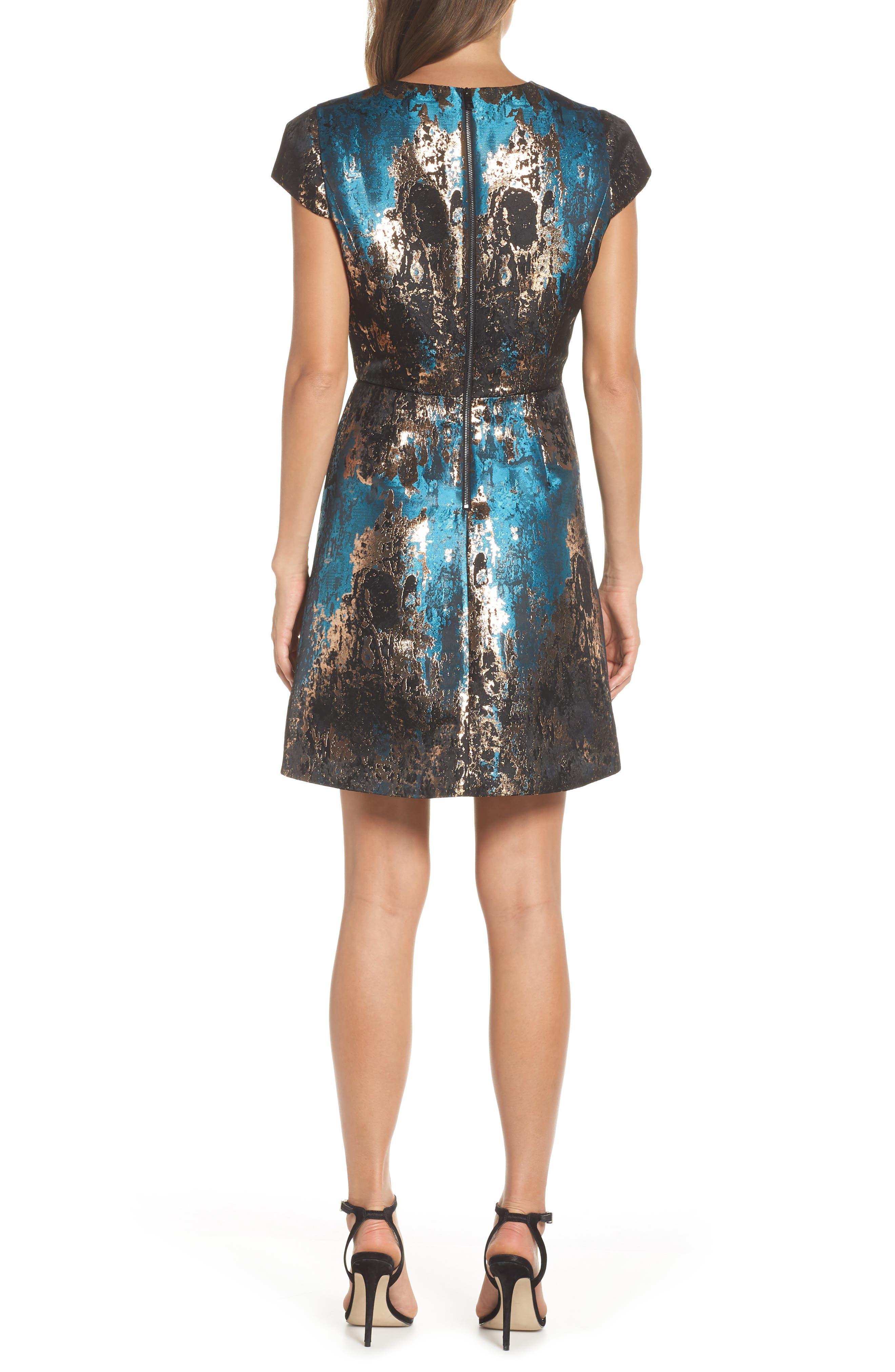 Jacquard Fit & Flare Dress,                             Alternate thumbnail 2, color,                             TEAL MULTI