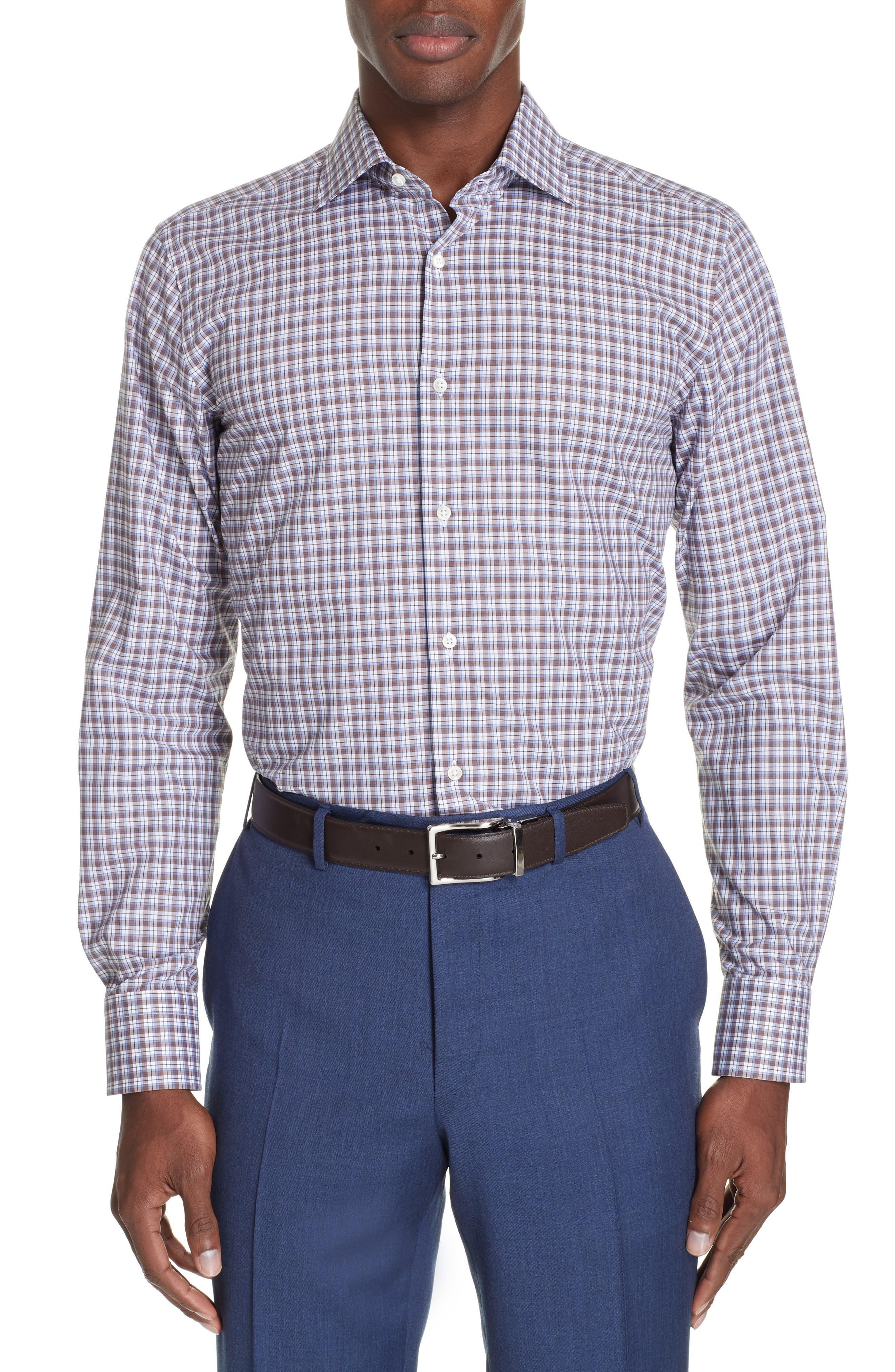 Trim Fit Plaid Dress Shirt,                         Main,                         color, MED BROWN