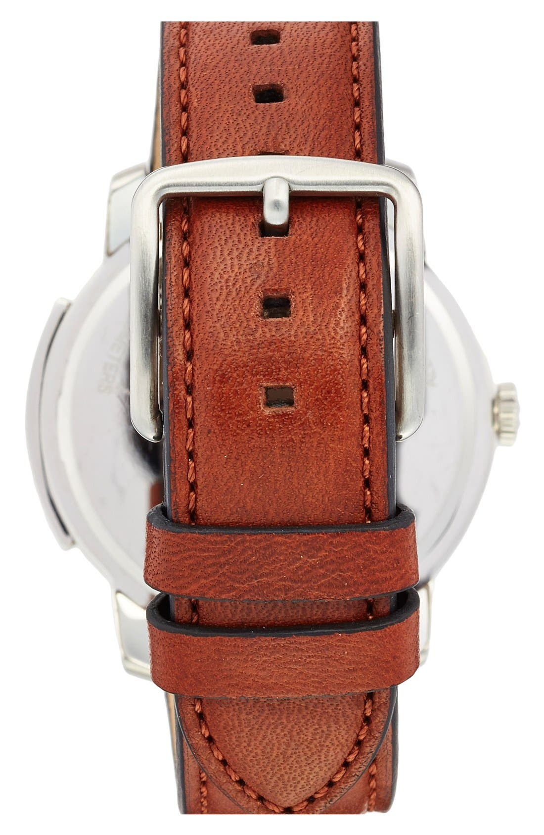 'Bleecker' Leather Strap Watch, 42mm,                             Alternate thumbnail 2, color,                             BROWN/ NAVY