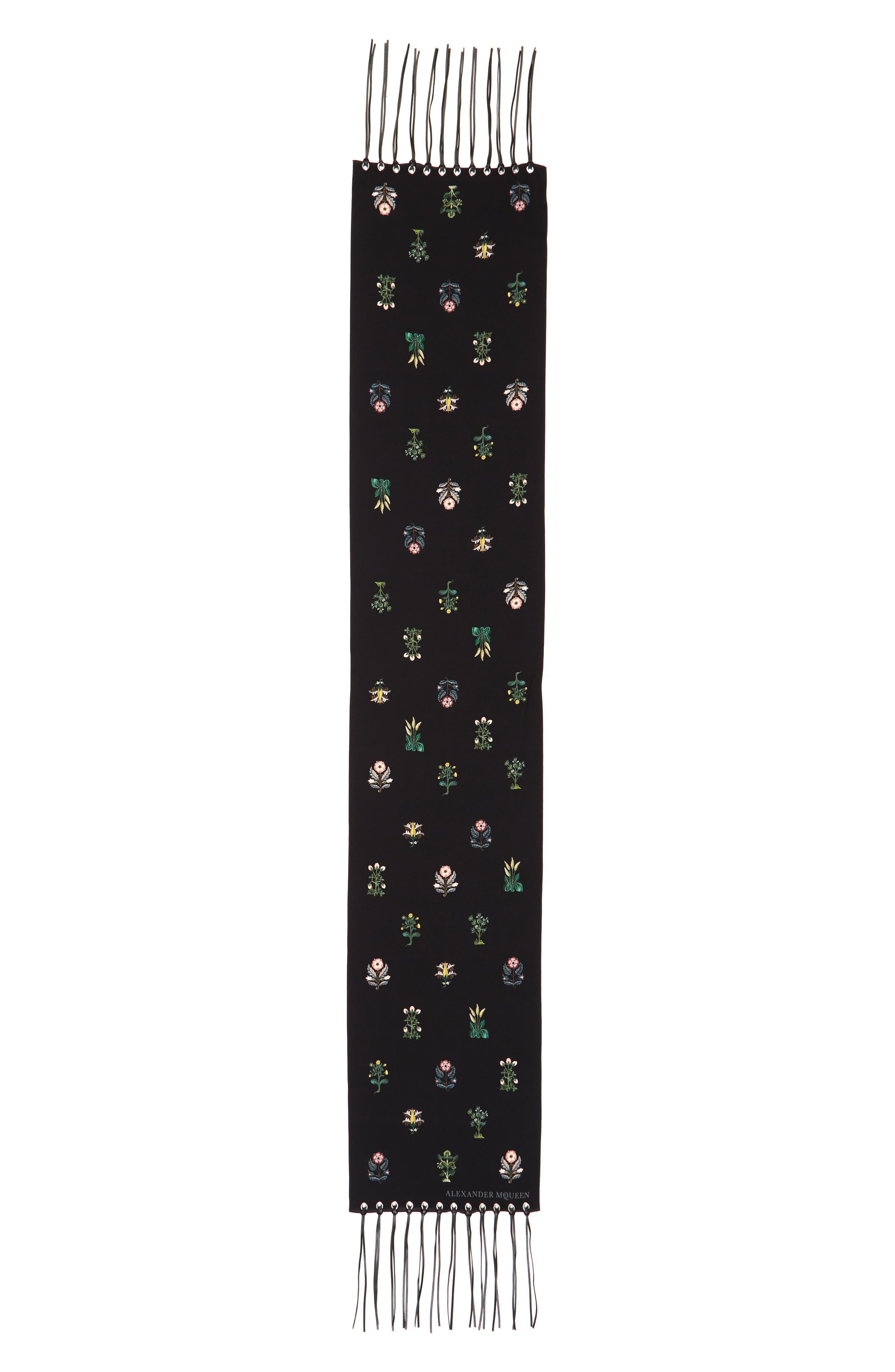 ALEXANDER MCQUEEN,                             Medieval Flower Skinny Silk Scarf,                             Main thumbnail 1, color,                             001