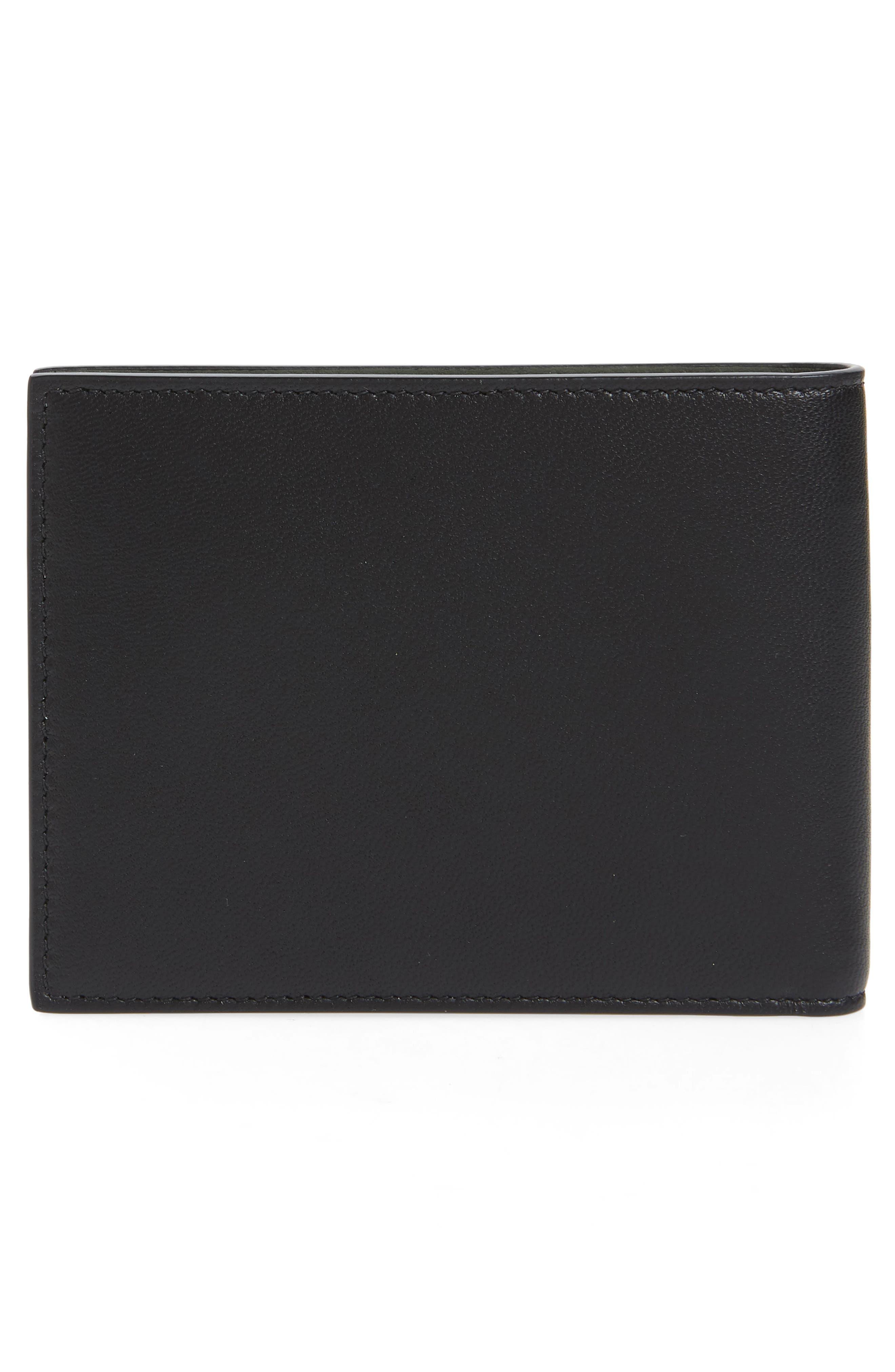 Embossed 4G Leather Bifold Wallet,                             Alternate thumbnail 4, color,                             BLACK/ KHAKI