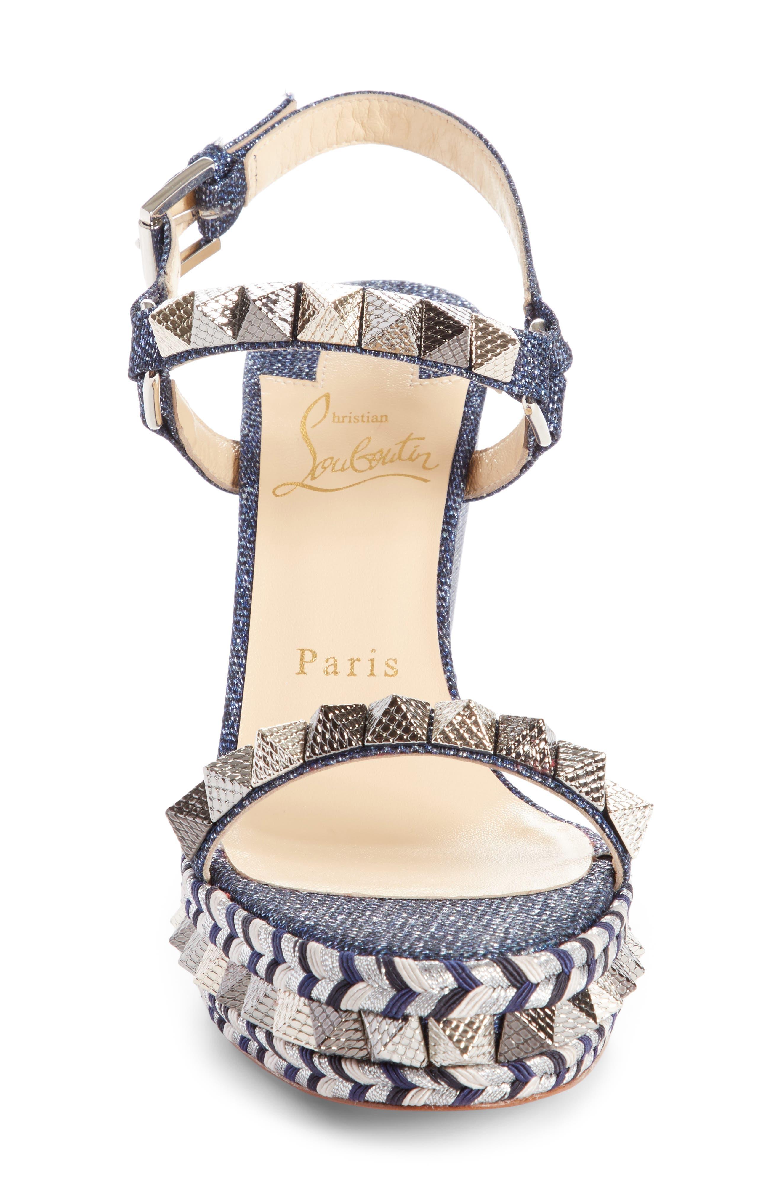 Pyraclou Studded Platform Wedge Sandal,                             Alternate thumbnail 4, color,                             DENIM