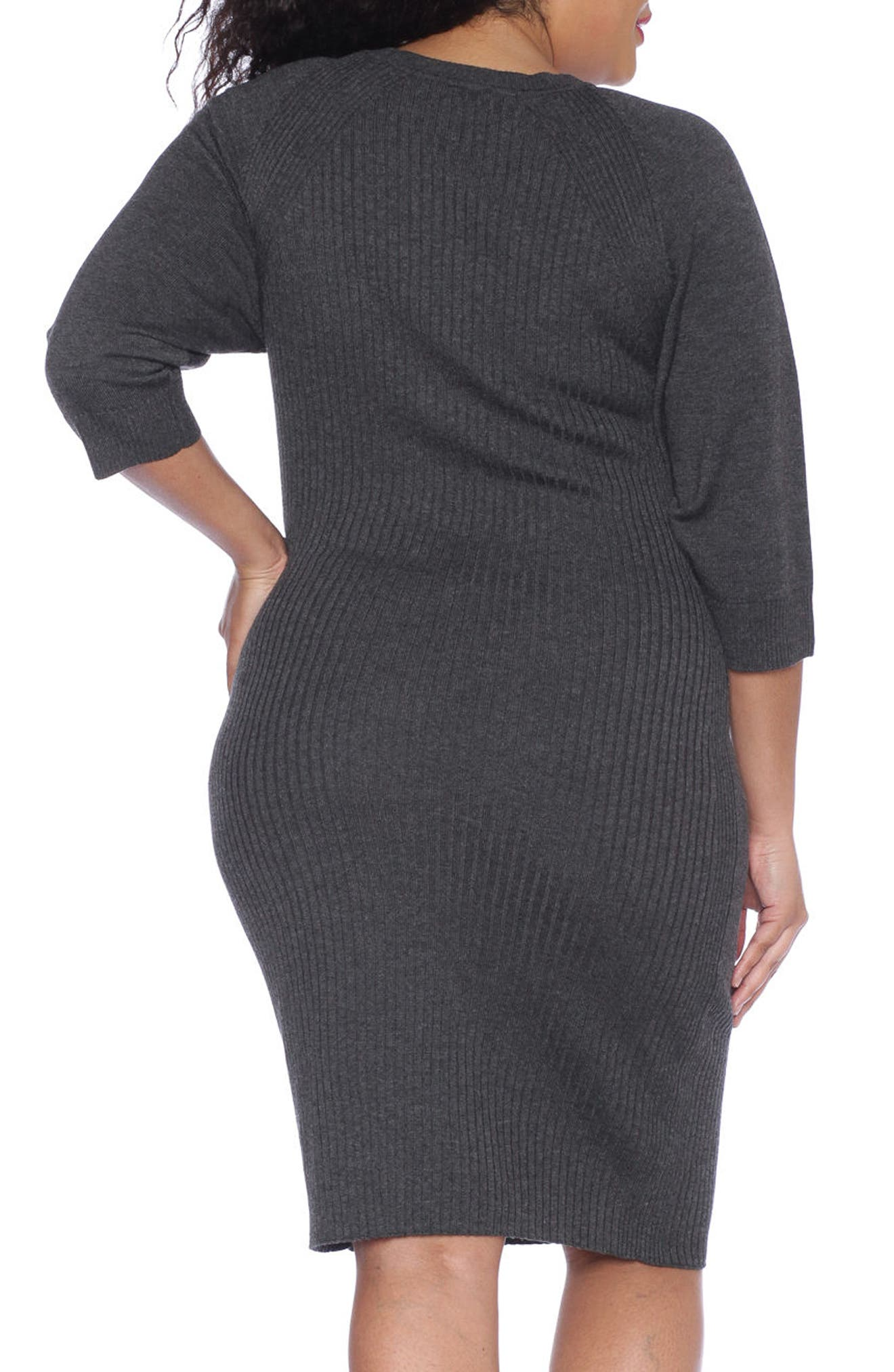 Ribbed Sweater Dress,                             Alternate thumbnail 2, color,                             DARK STONE
