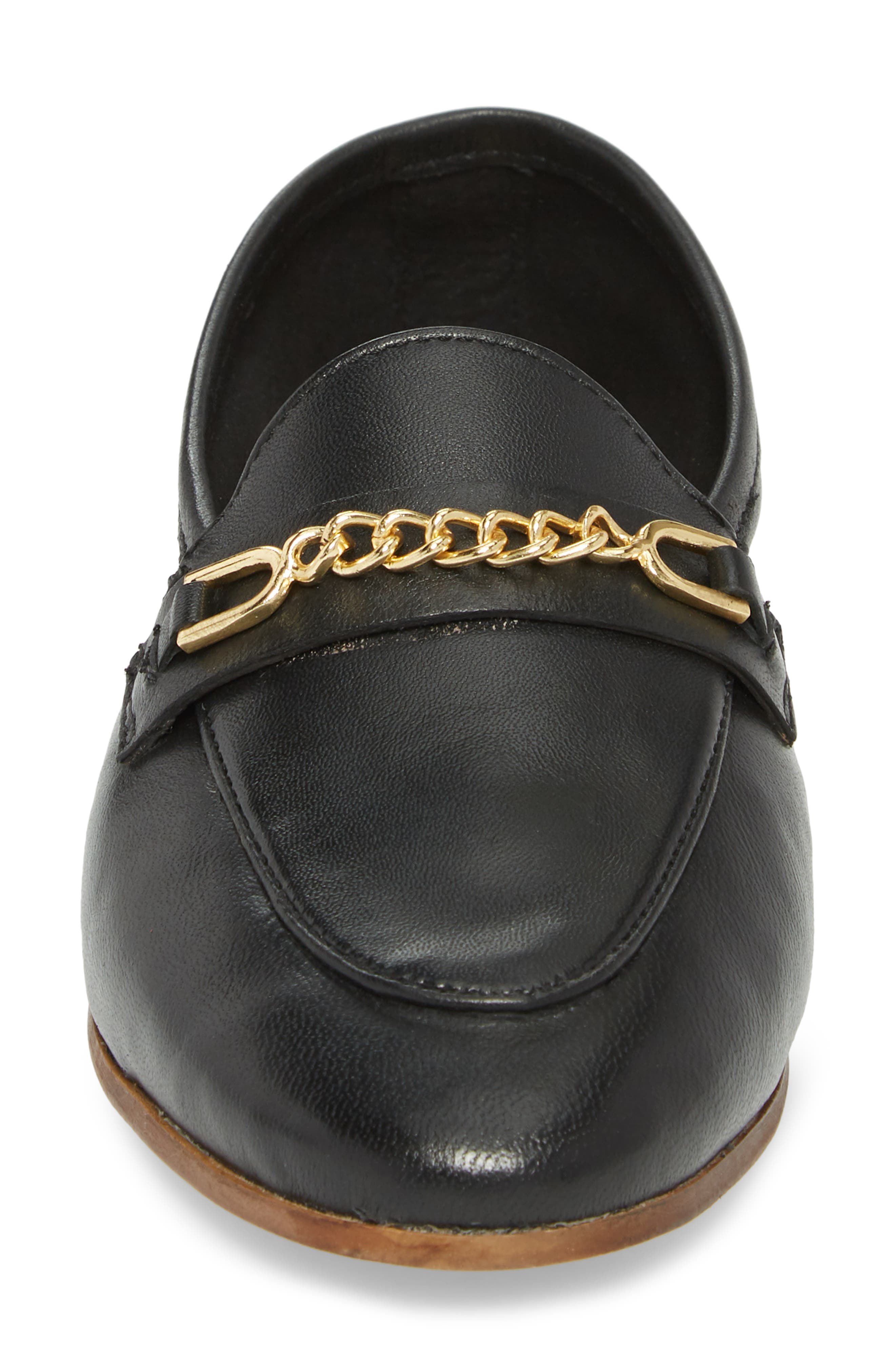 Chain Trim Apron Toe Loafer,                             Alternate thumbnail 4, color,                             001