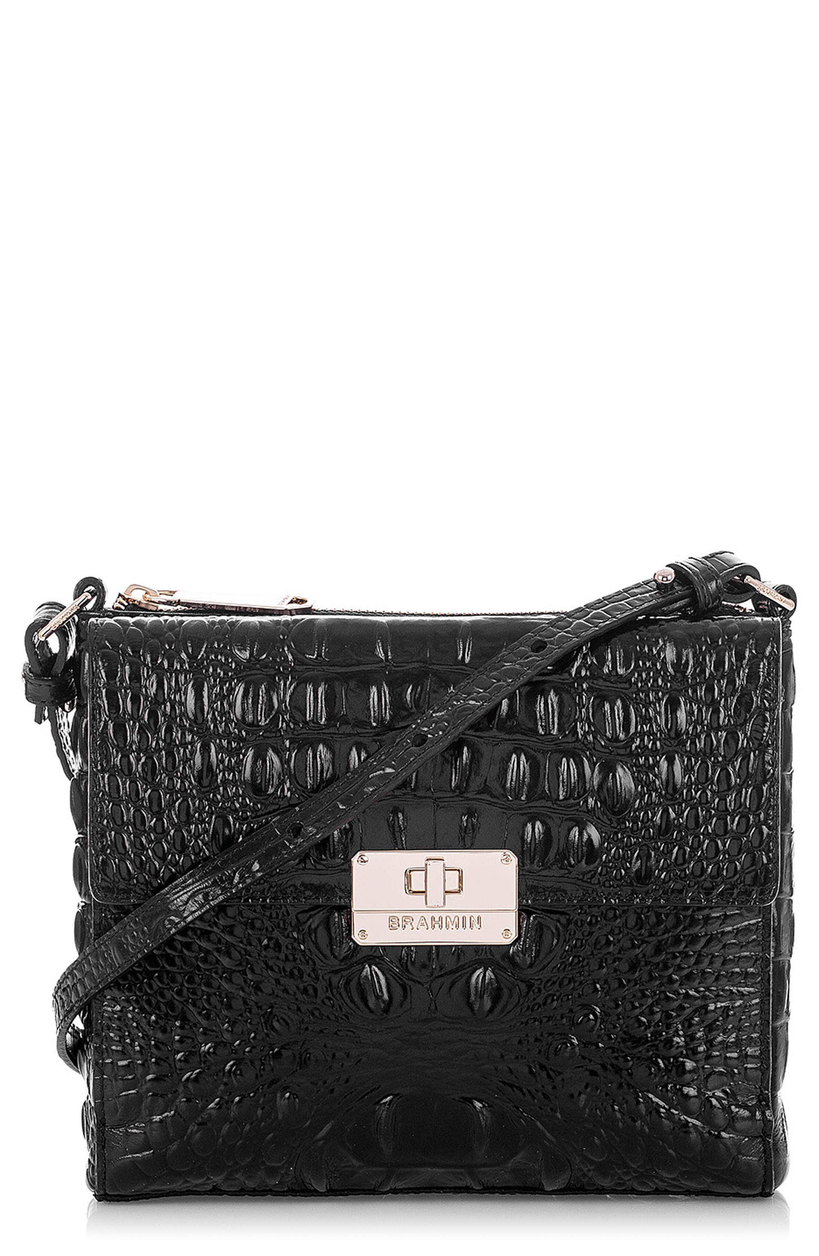 Melbourne Manhattan Croc Embossed Leather Crossbody Bag,                             Main thumbnail 1, color,                             BLACK