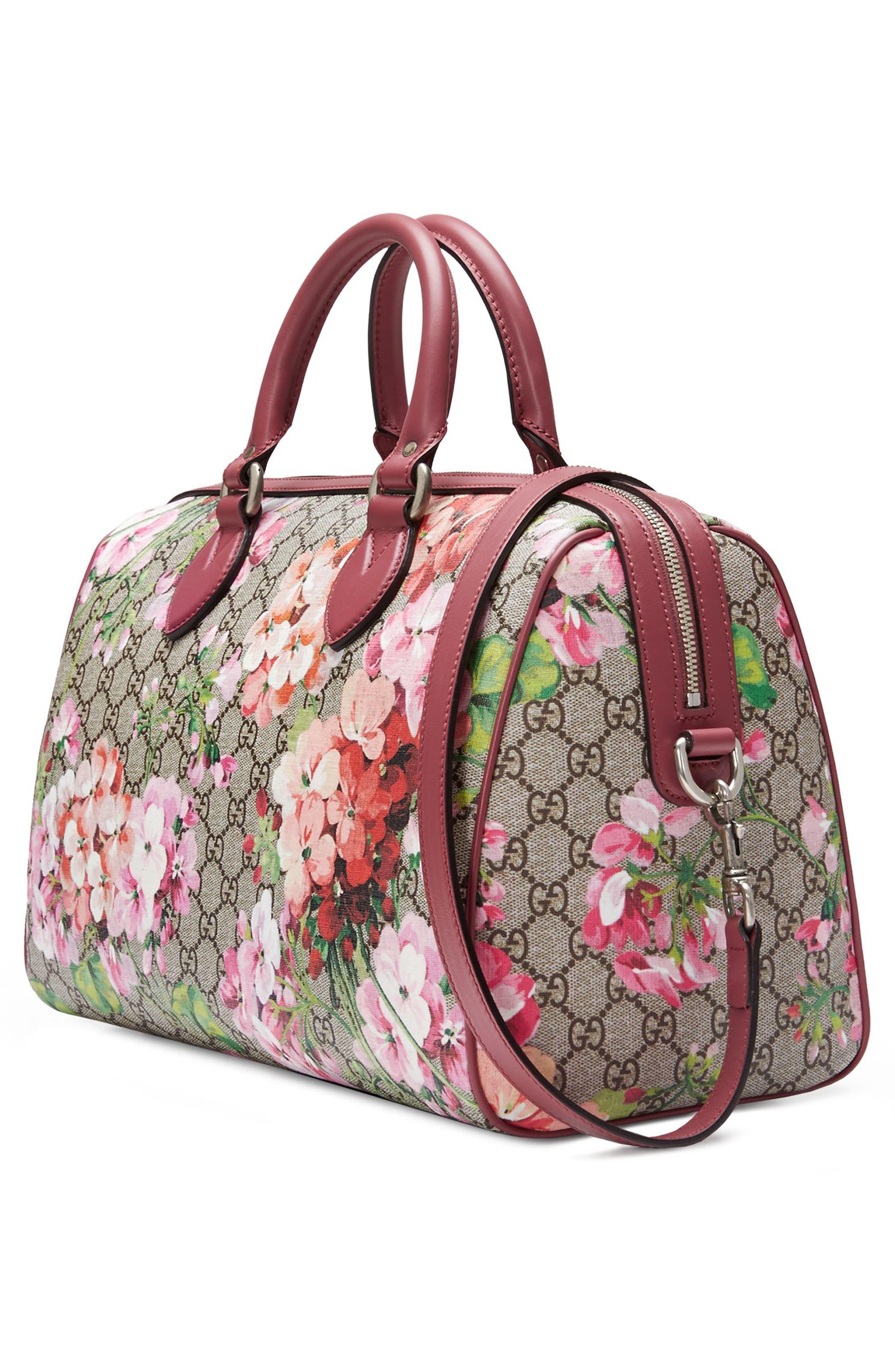 Medium Blooms GG Supreme Top Handle Canvas Bag,                             Alternate thumbnail 4, color,                             250