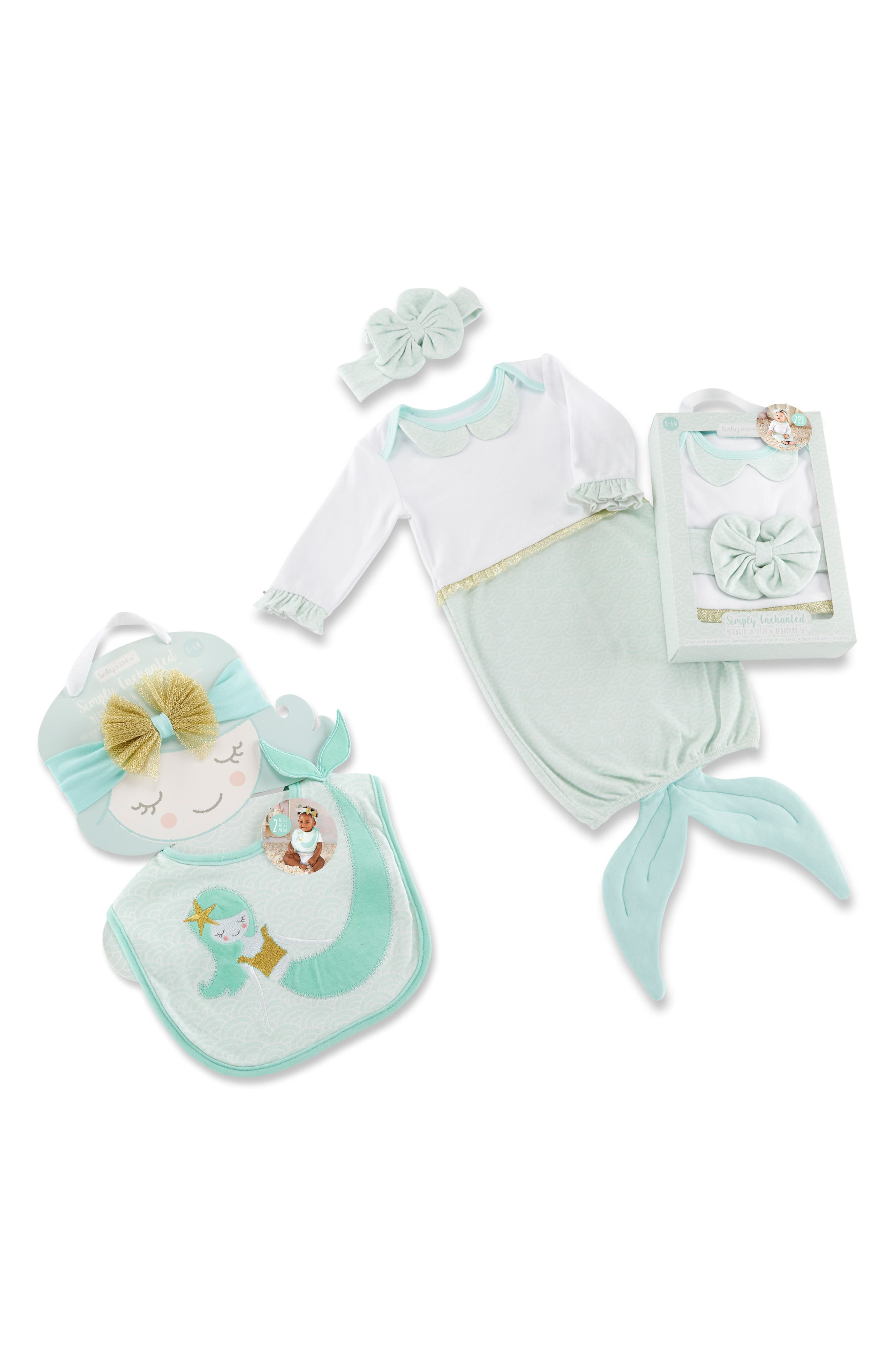Simply Enchanted Mermaid 4-Piece Gift Set, Main, color, SEAFOAM GREEN/PINK