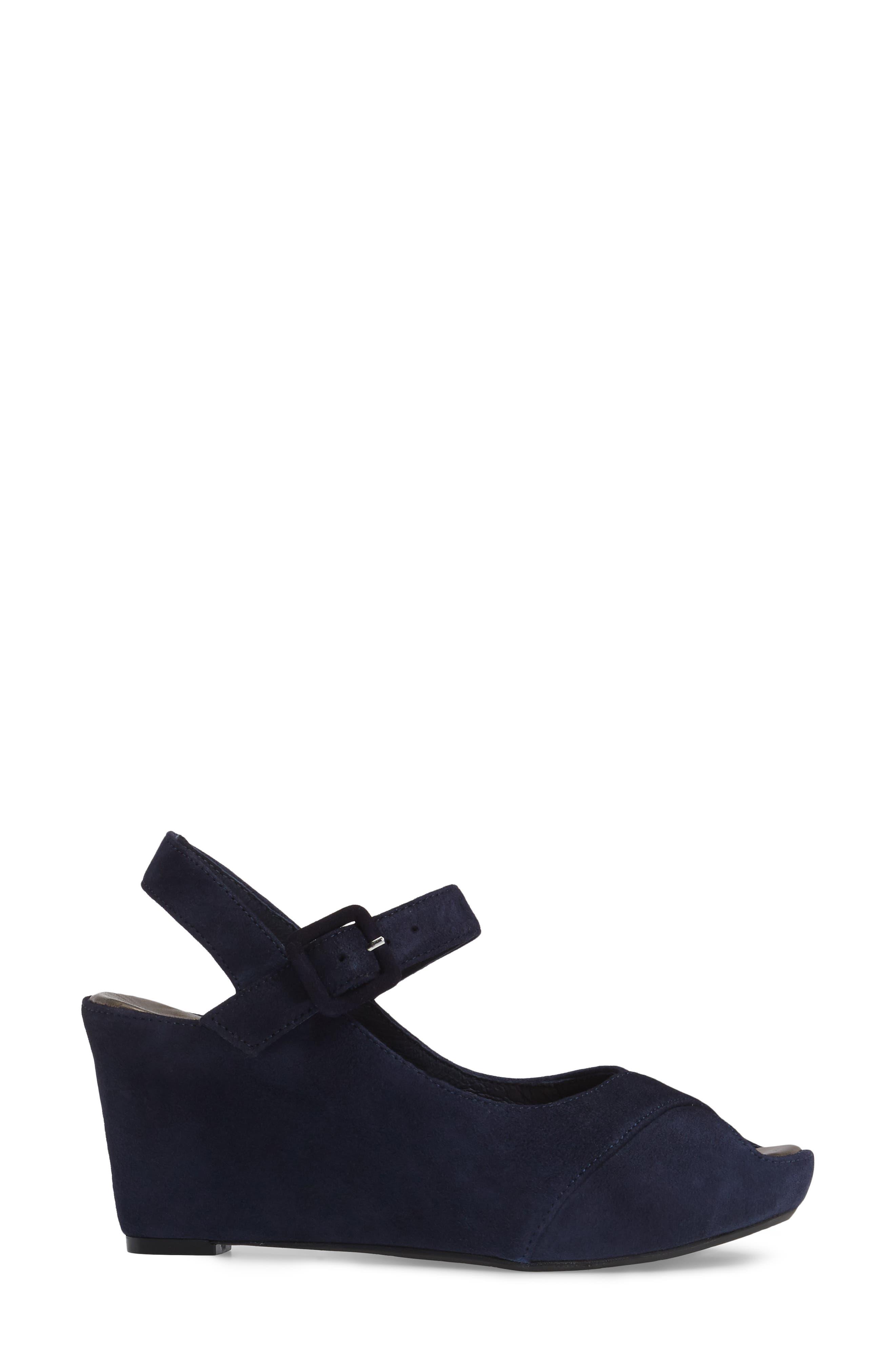 Tara Platform Wedge Sandal,                             Alternate thumbnail 3, color,                             NAVY SUEDE