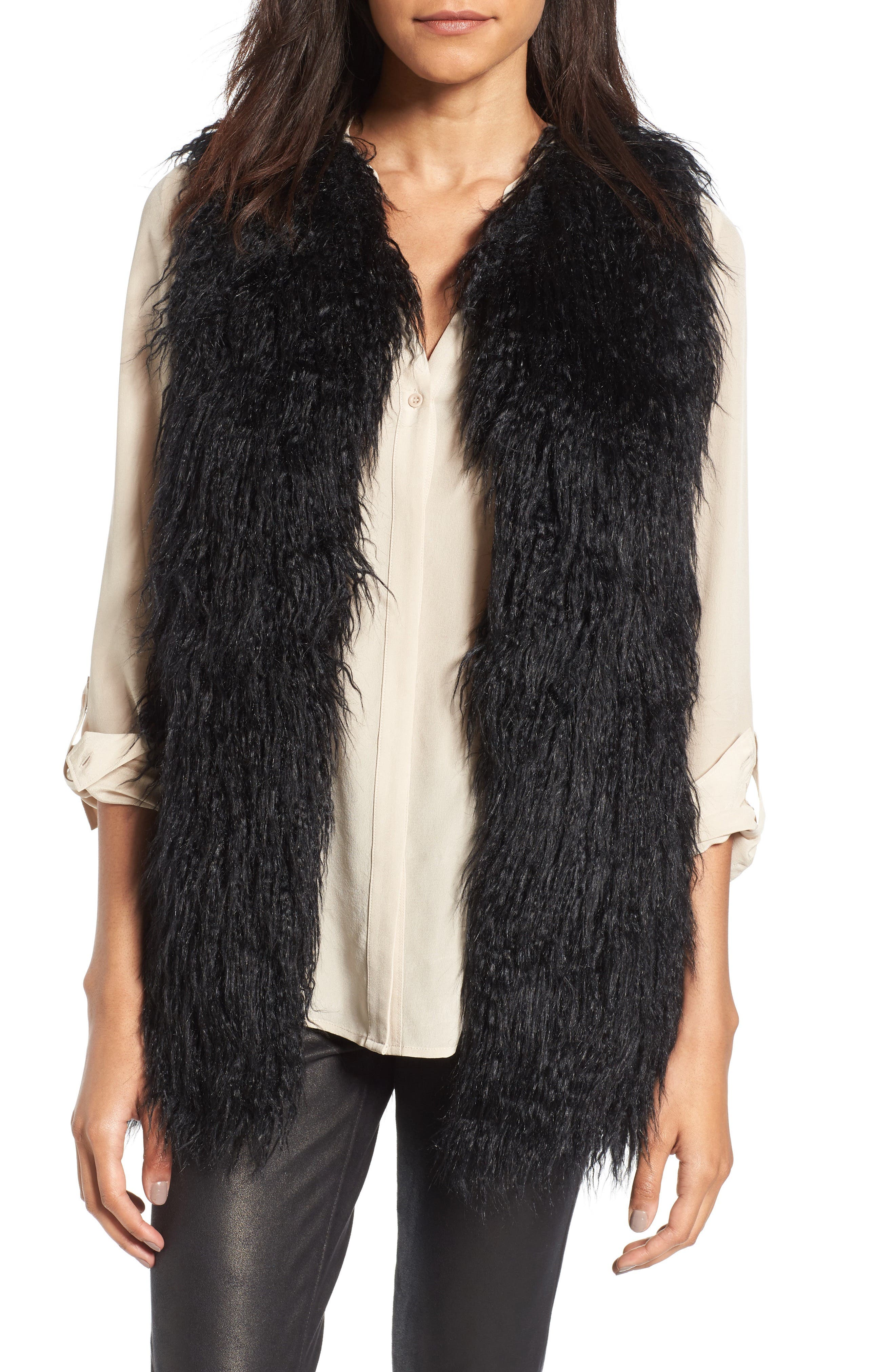Faux Fur Vest,                             Main thumbnail 1, color,                             001