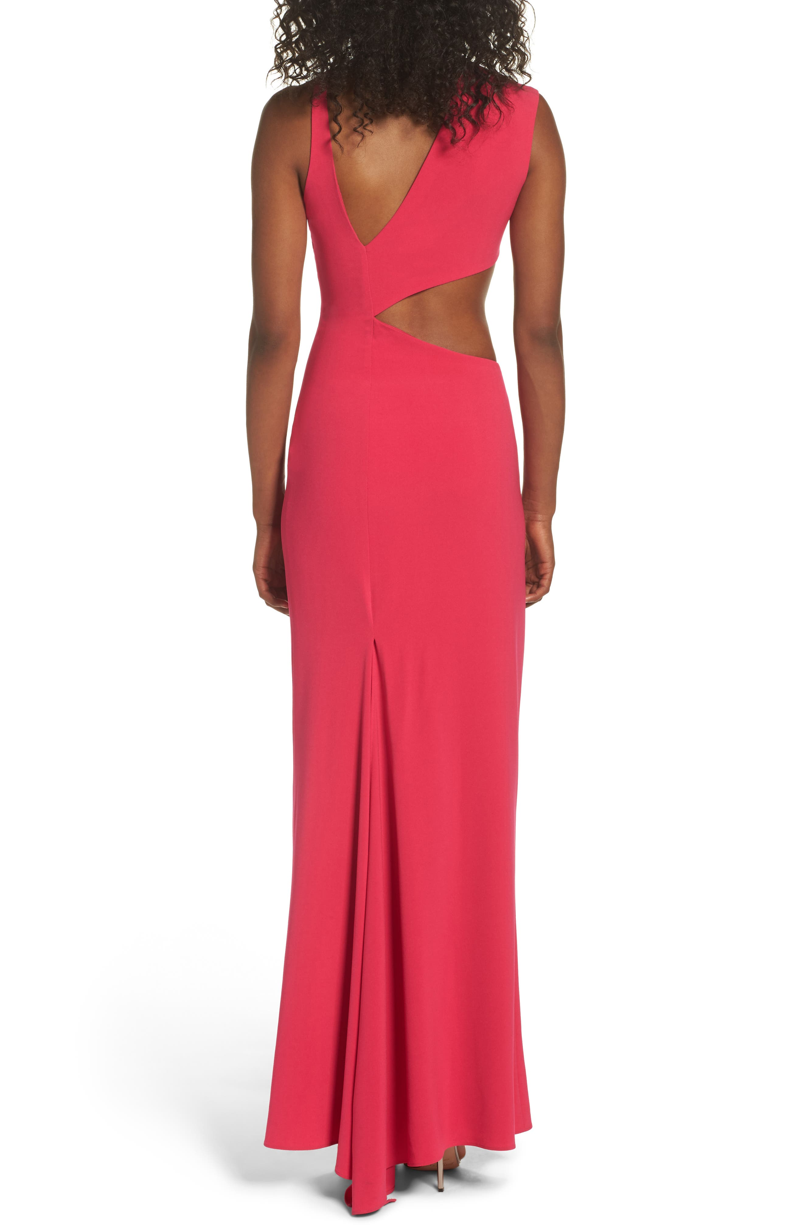 Asymmetrical Cutout Crepe Gown,                             Alternate thumbnail 2, color,                             665