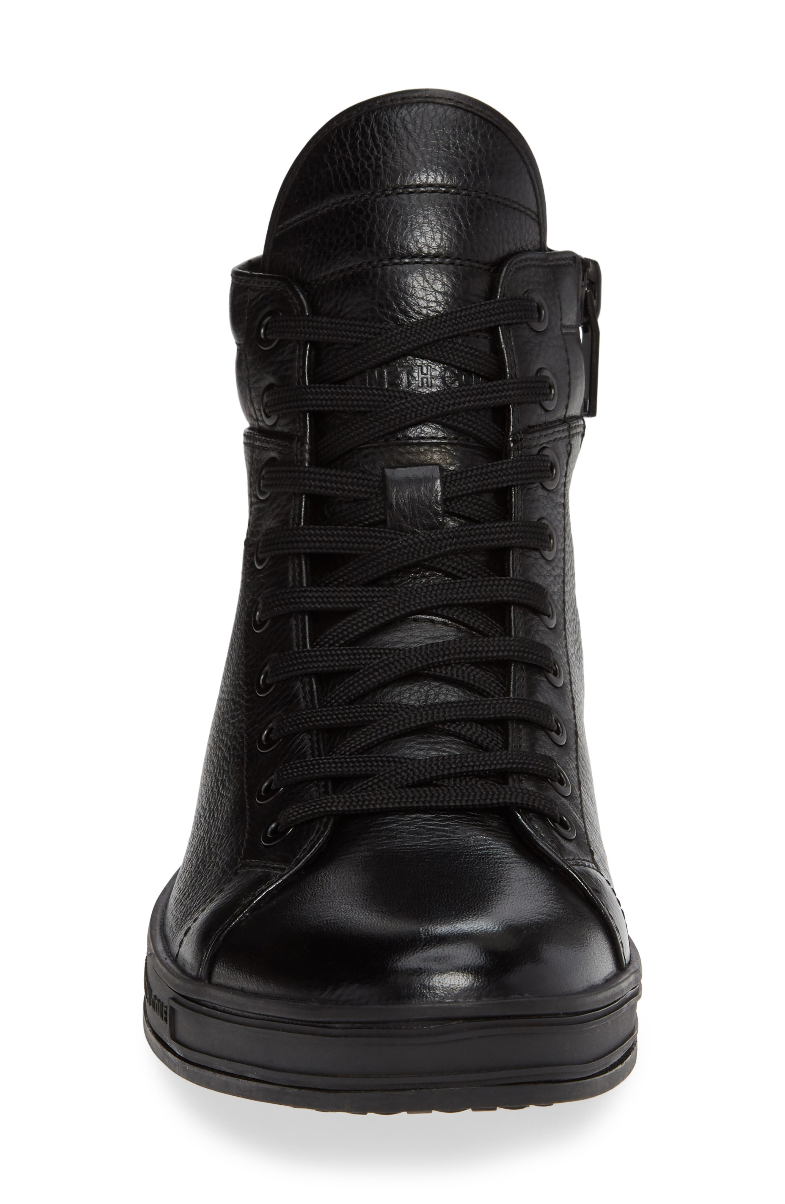 Brand F Sneaker,                             Alternate thumbnail 4, color,                             BLACK LEATHER