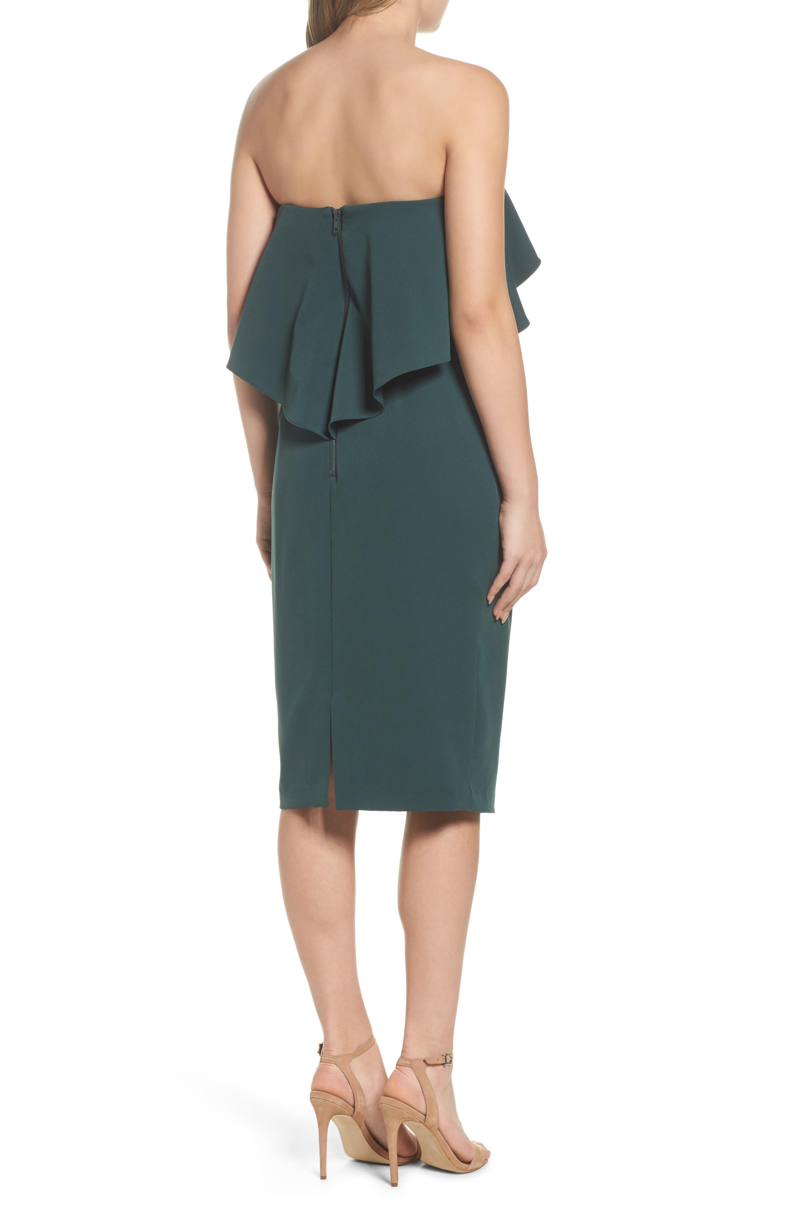 Ruffle Stretch Crepe Sheath Dress,                             Alternate thumbnail 8, color,