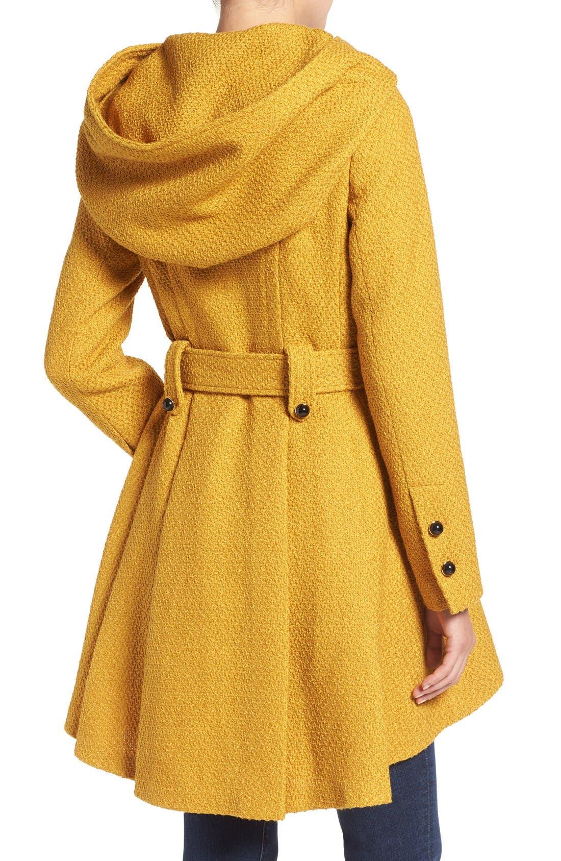 Belted Hooded Skirted Coat,                             Alternate thumbnail 15, color,