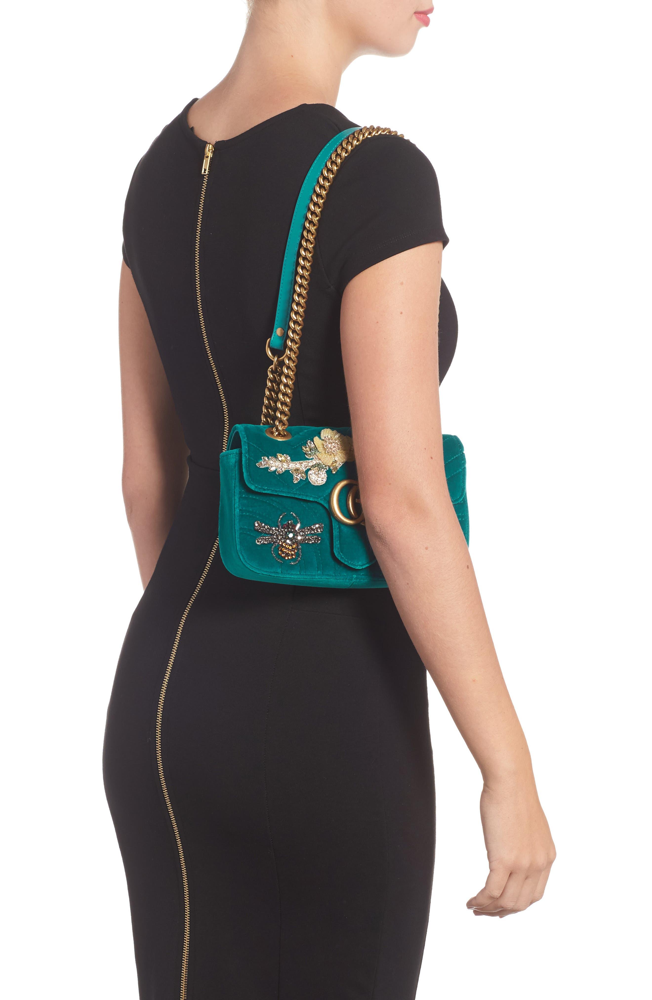 Mini GG Marmont Matelassé Velvet Shoulder Bag,                             Alternate thumbnail 2, color,                             PIVONE