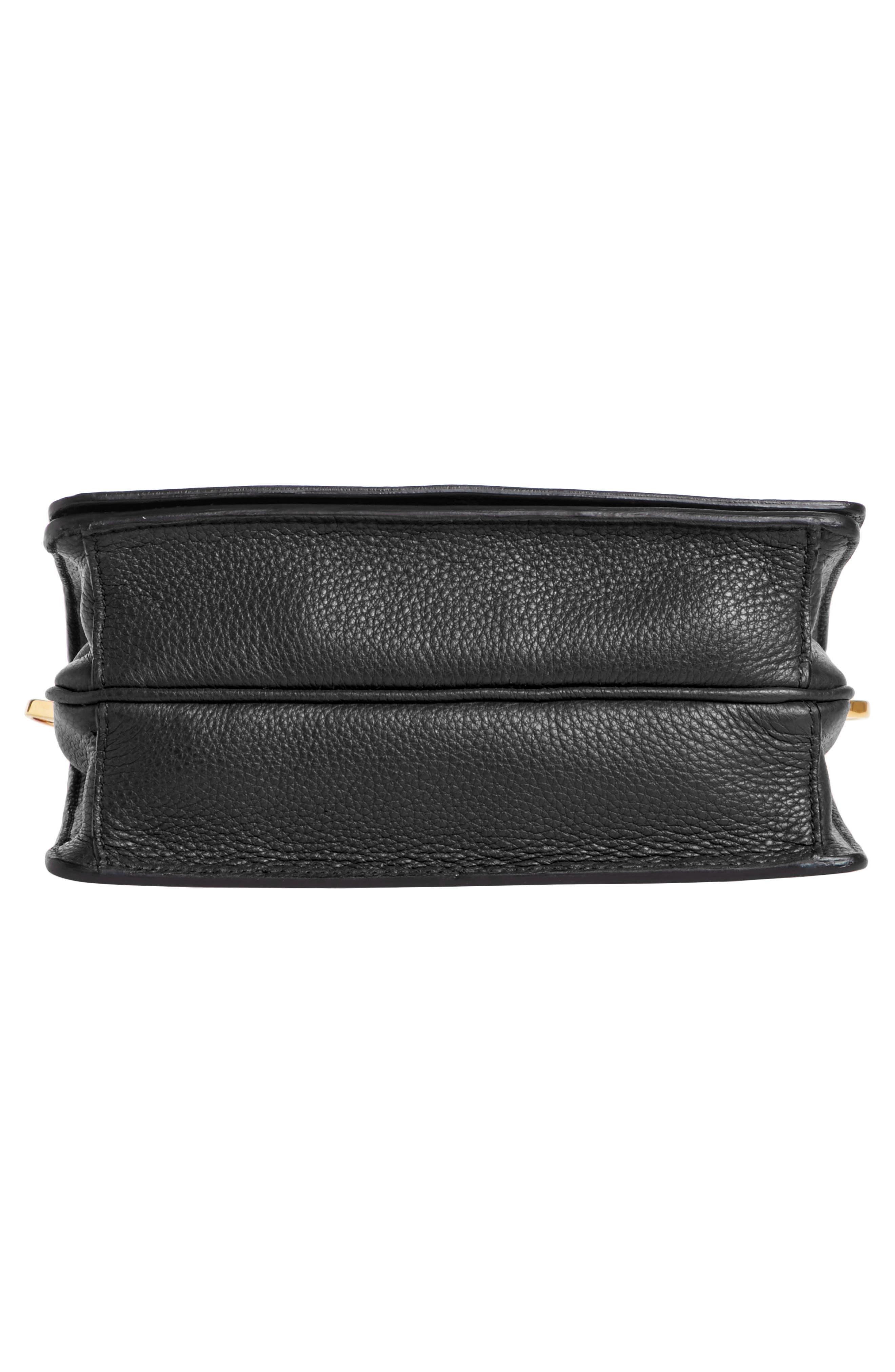 Vitello Daino Double Compartment Leather Shoulder Bag,                             Alternate thumbnail 6, color,                             001