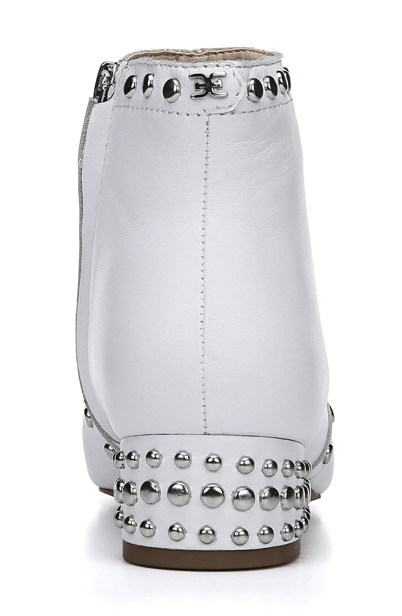 Lorin Studded Bootie,                             Alternate thumbnail 7, color,                             WHITE LEATHER