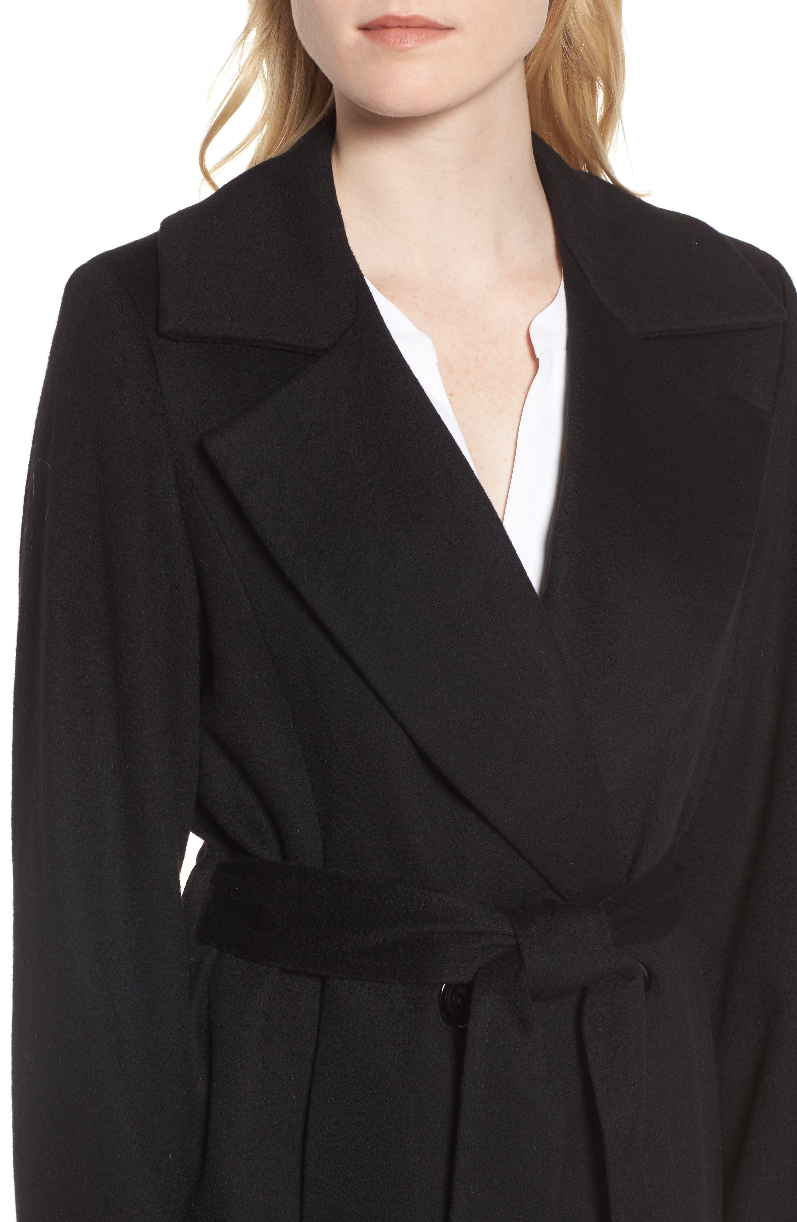 Notch Collar Cashmere Wrap Coat,                             Alternate thumbnail 4, color,                             001