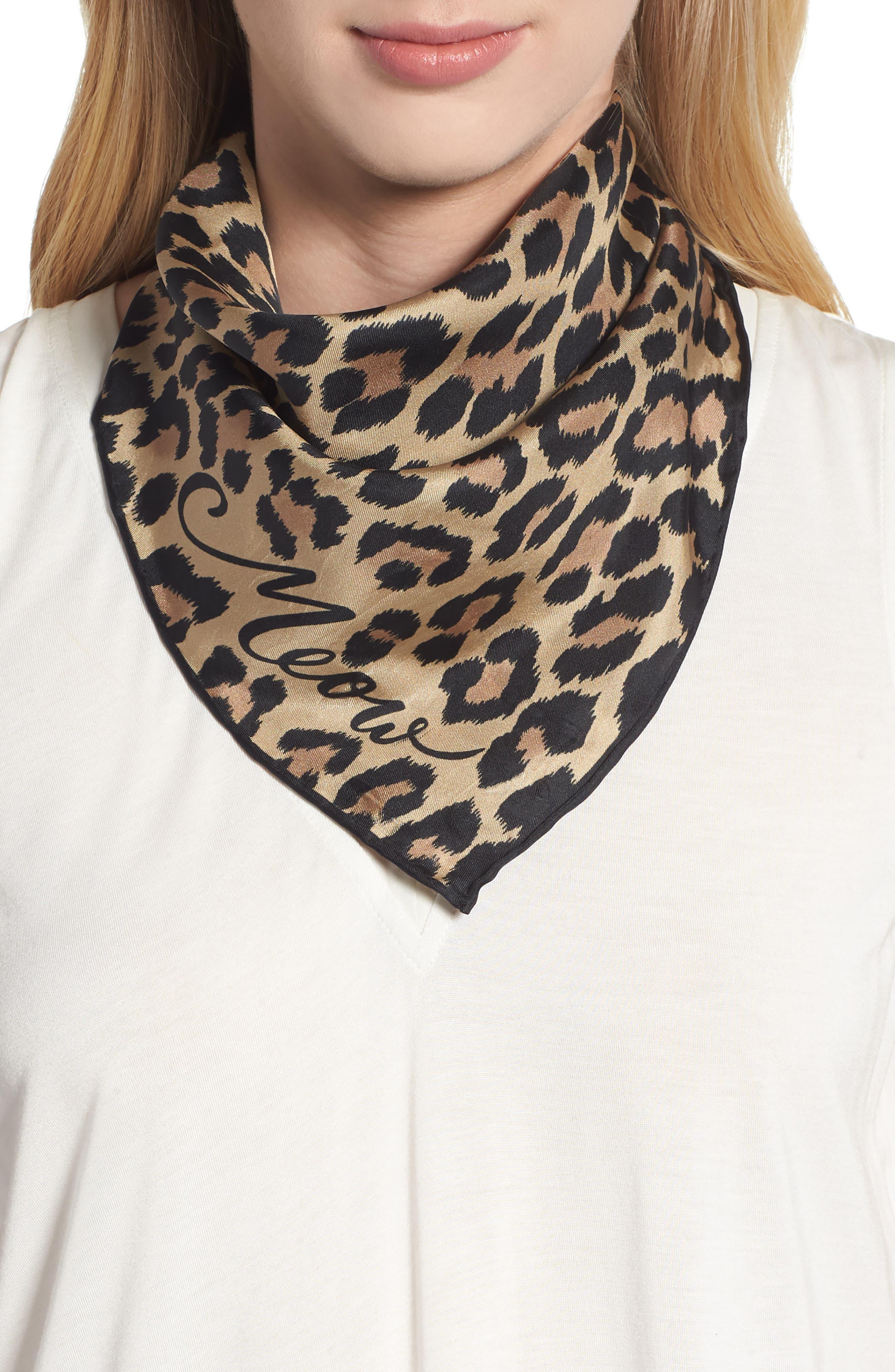 leopard silk bandana,                             Main thumbnail 1, color,                             200