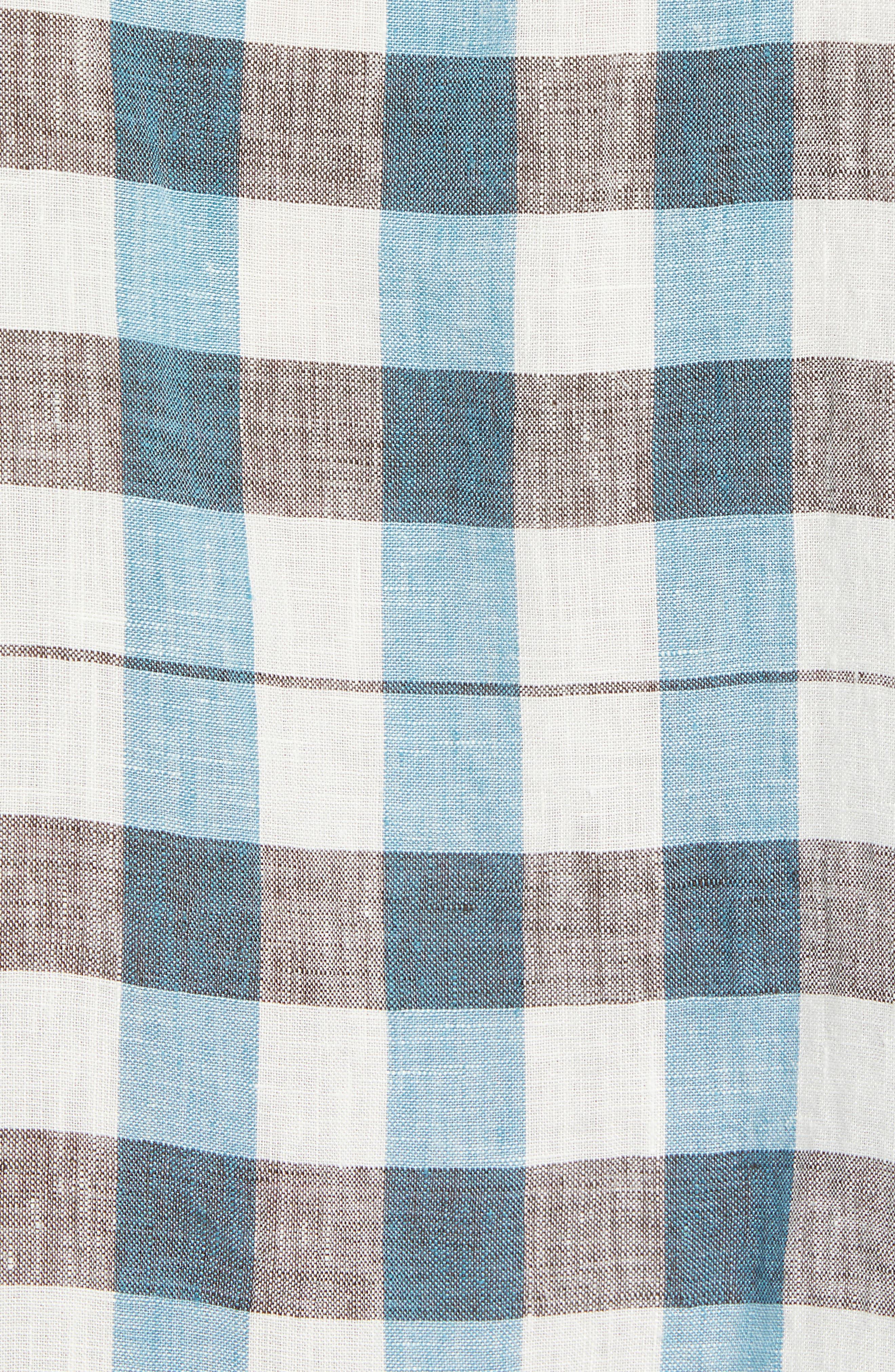 La Grande Gingham Linen Sport Shirt,                             Alternate thumbnail 5, color,                             COBALT SEA