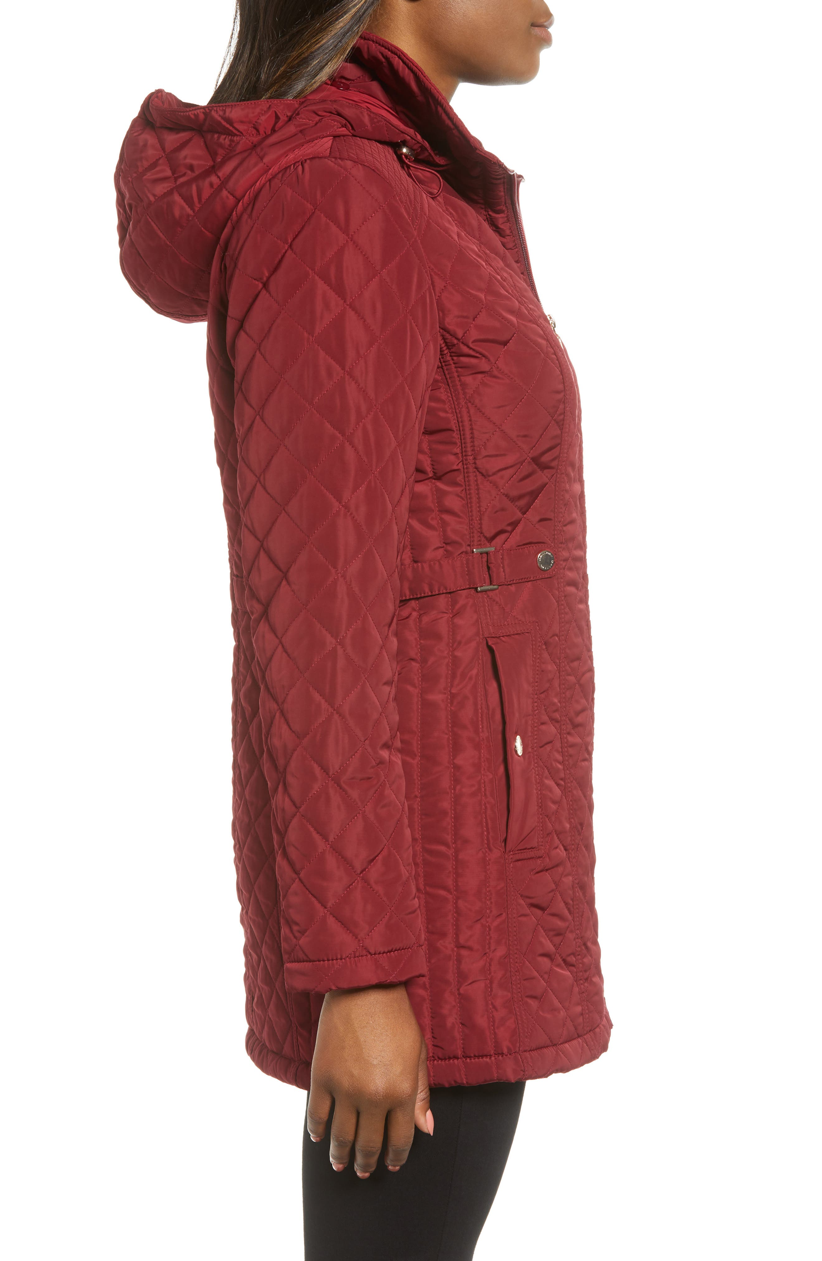 Quilted Hooded Jacket,                             Alternate thumbnail 3, color,                             MERLOT
