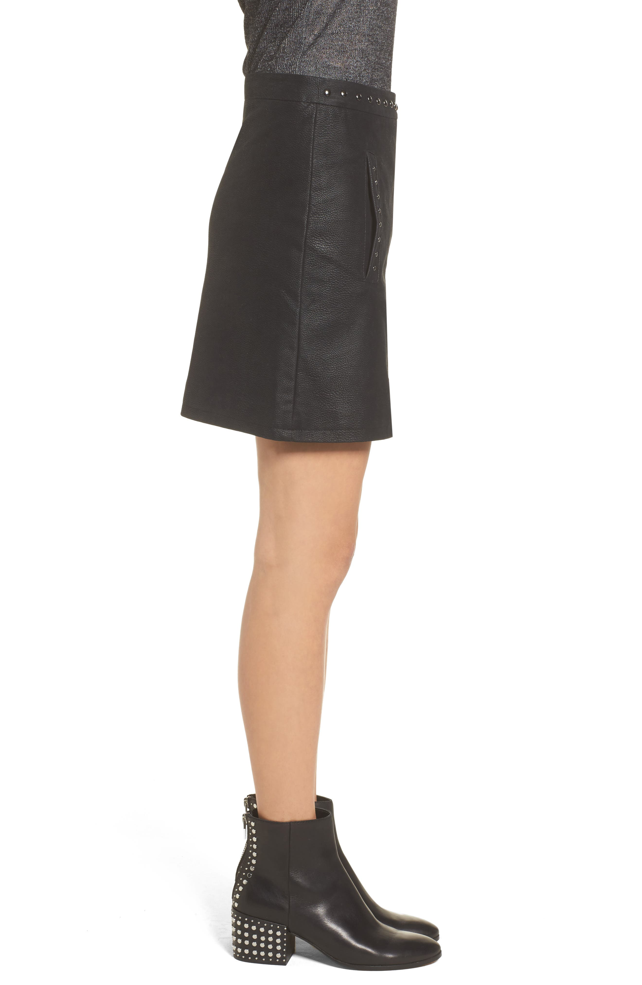 Studded Faux Leather Miniskirt,                             Alternate thumbnail 3, color,                             001