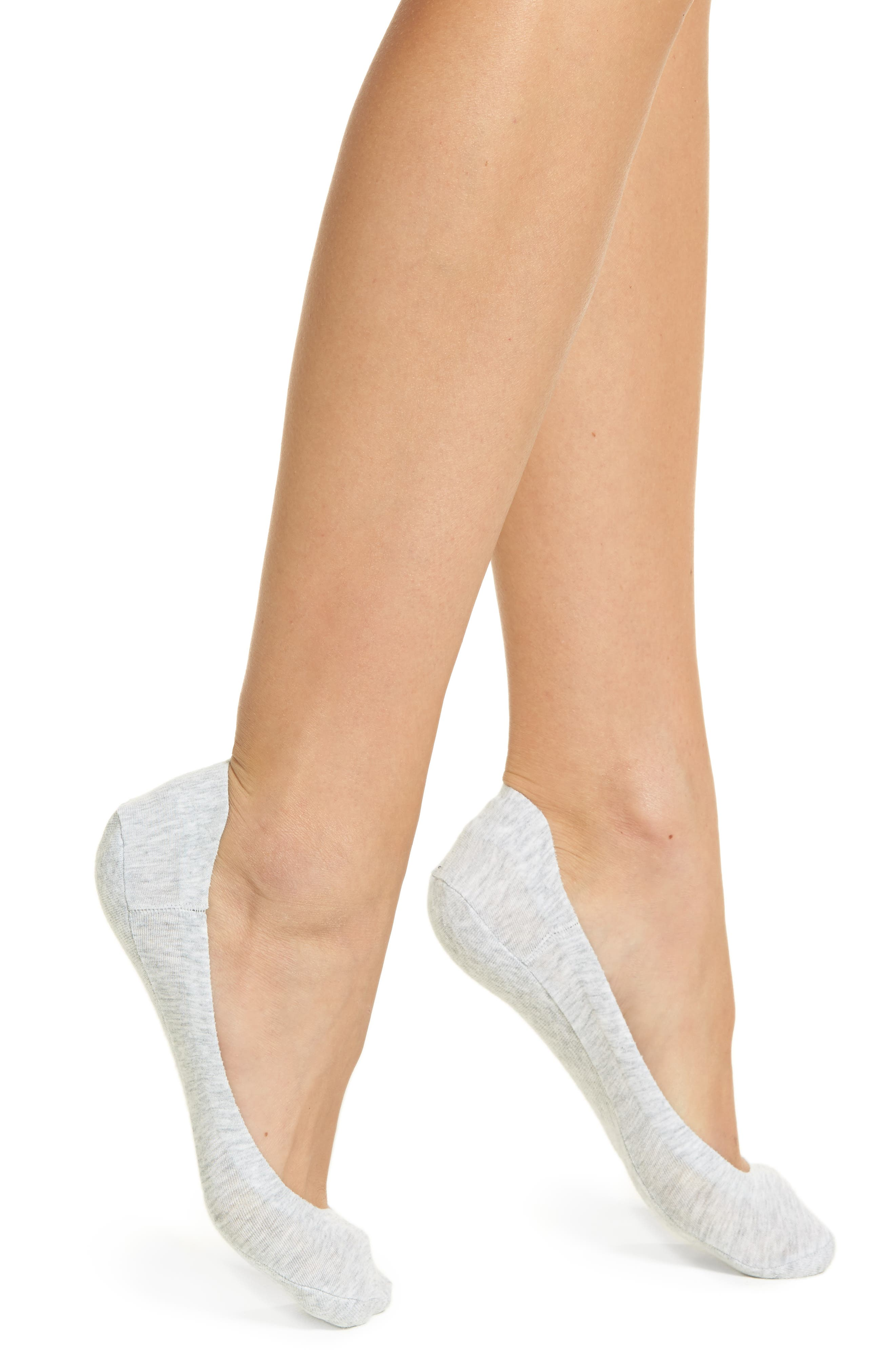 Perfect Edge No-Show Liner Socks,                             Main thumbnail 1, color,                             LIGHT CHARCOAL HEATHER