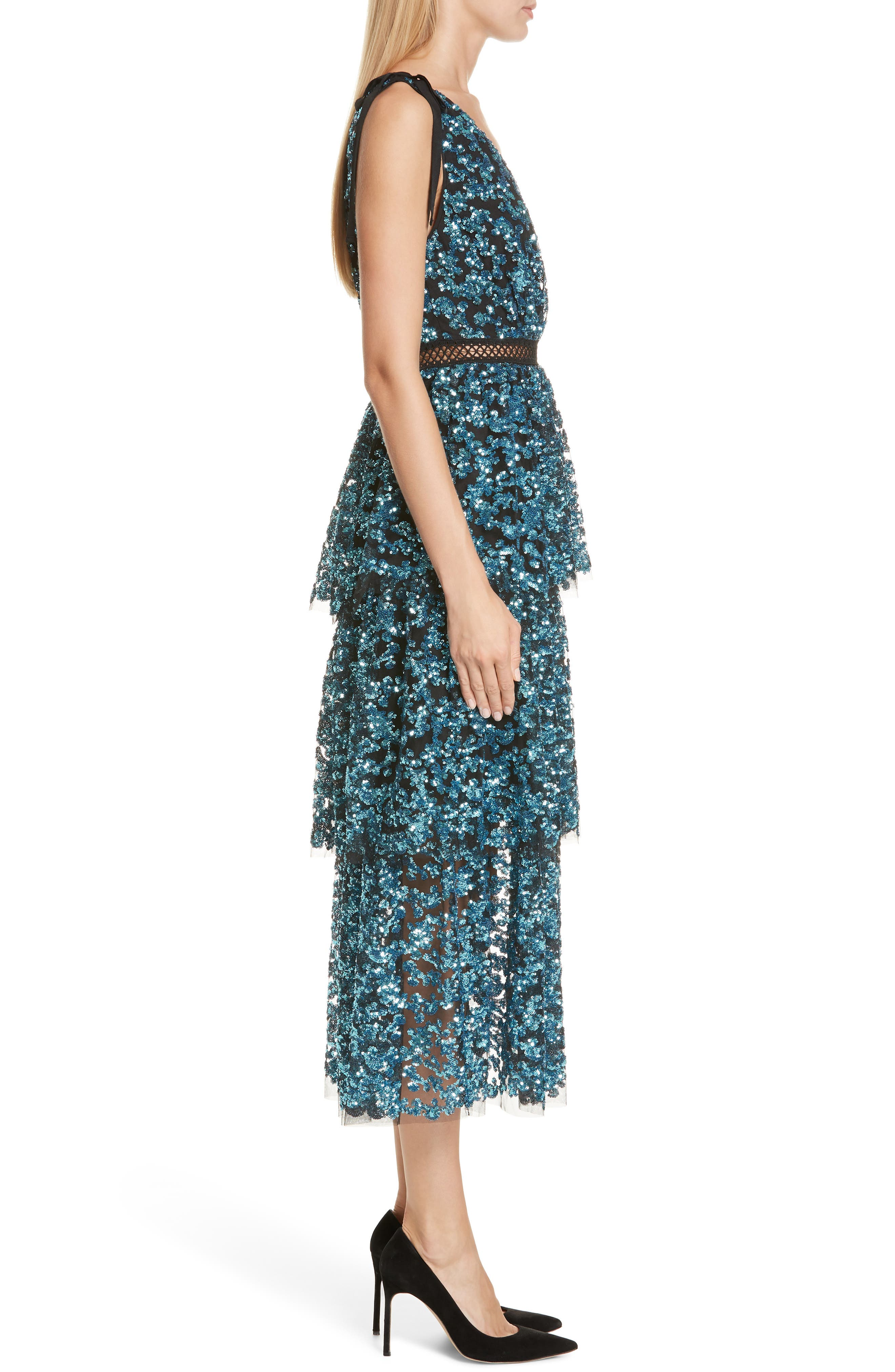 Tiered Sequined Midi Dress,                             Alternate thumbnail 3, color,                             BLUE