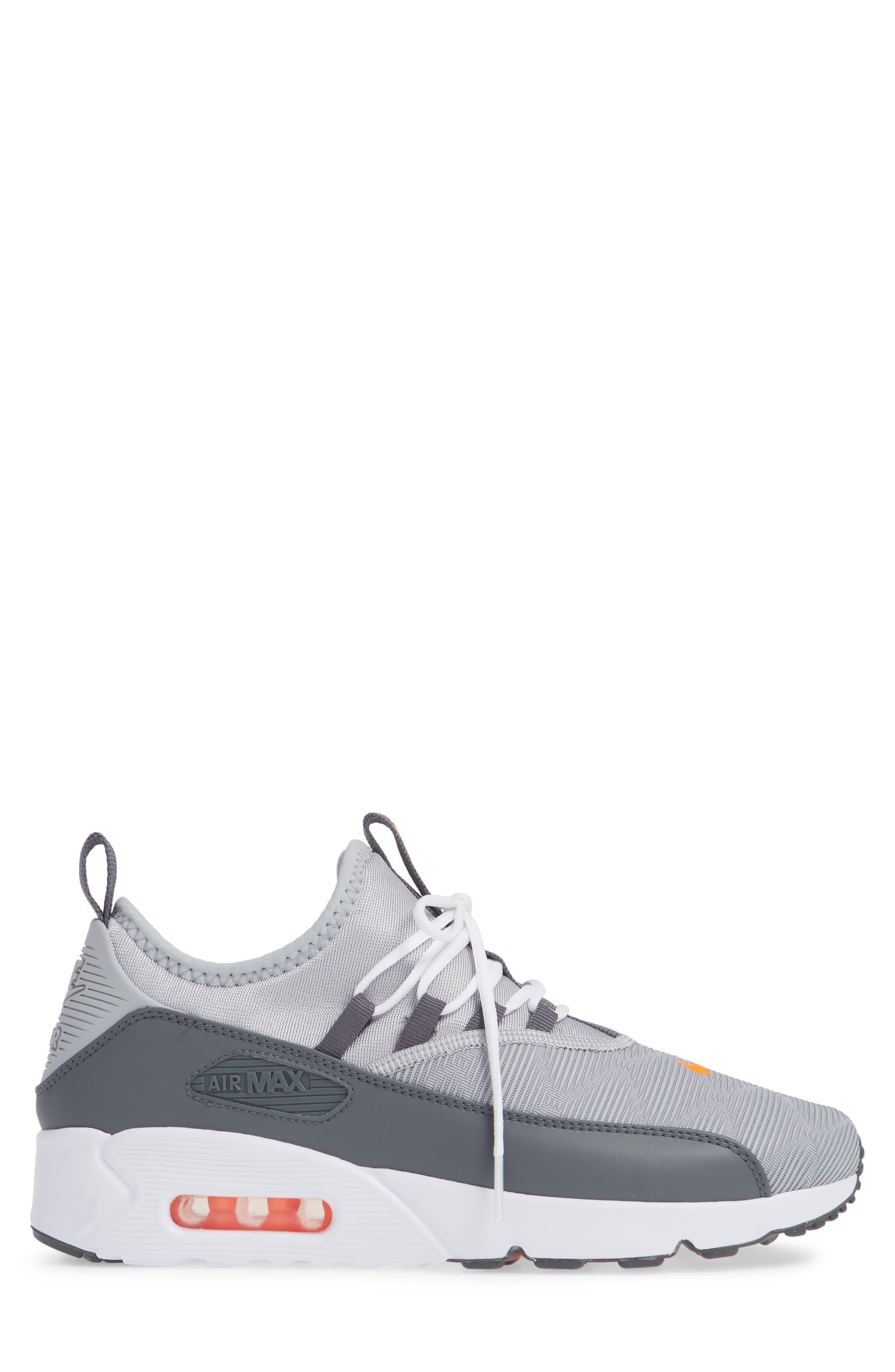 Air Max 90 EZ Sneaker,                             Alternate thumbnail 3, color,                             WOLF GREY/ TOTAL ORANGE/ WHITE