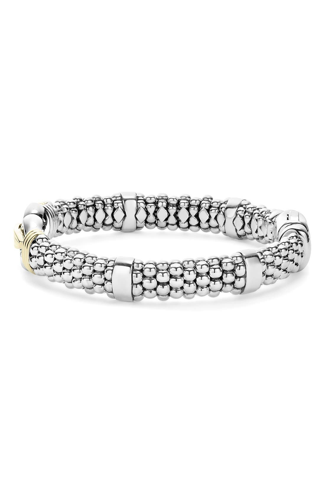 'Derby' Two-Tone Caviar Rope Bracelet,                             Alternate thumbnail 3, color,                             STERLING SILVER - GOLD