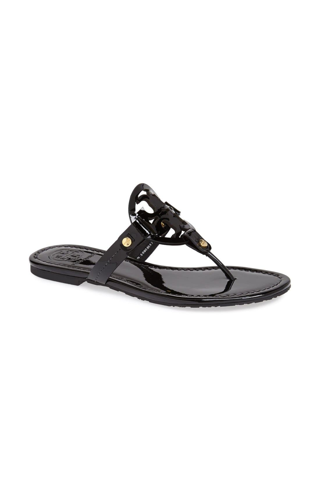 'Miller' Flip Flop,                             Alternate thumbnail 5, color,                             BLACK PATENT