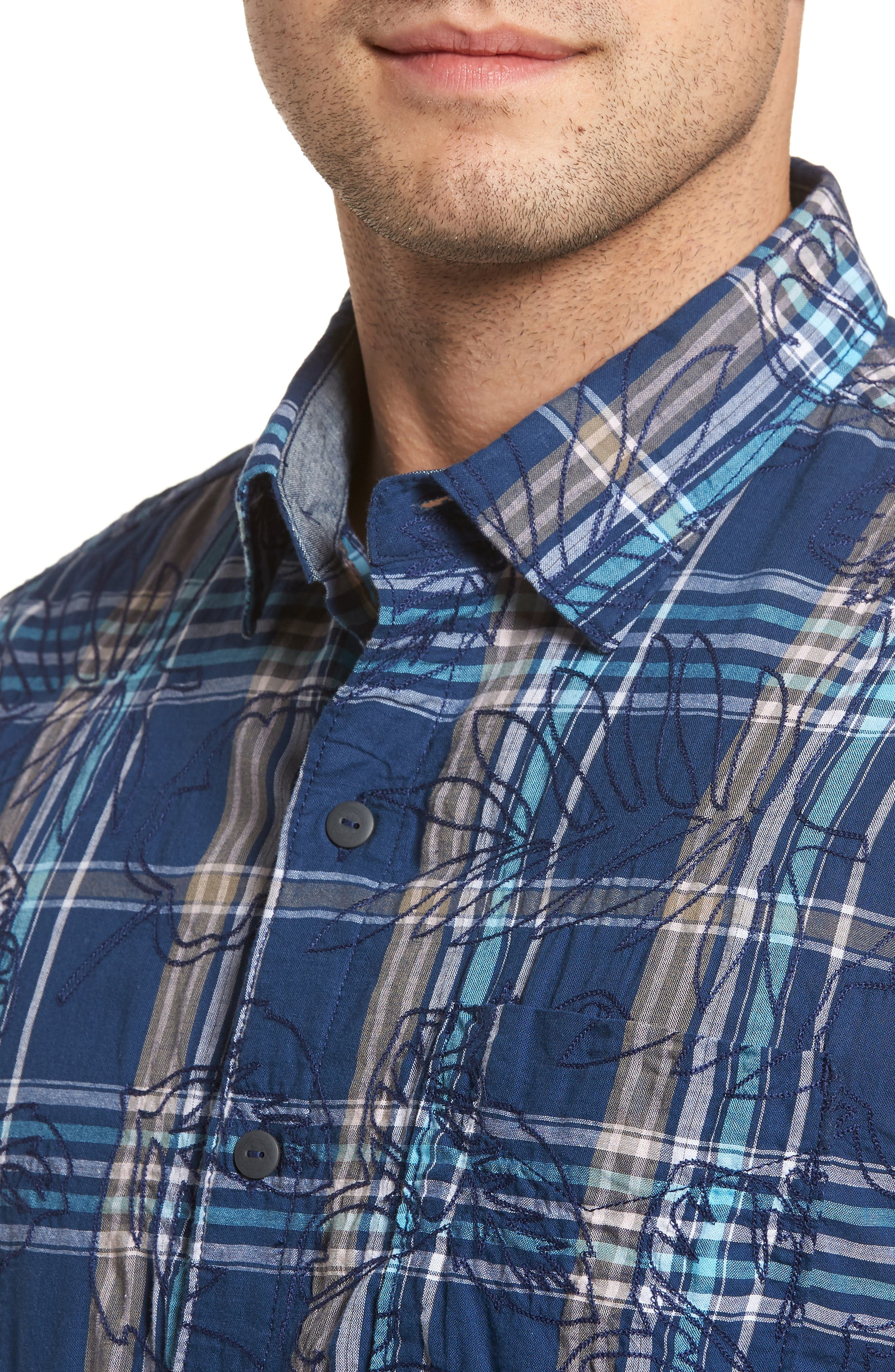 Palazzo Regular Fit Plaid Sport Shirt,                             Alternate thumbnail 4, color,                             400