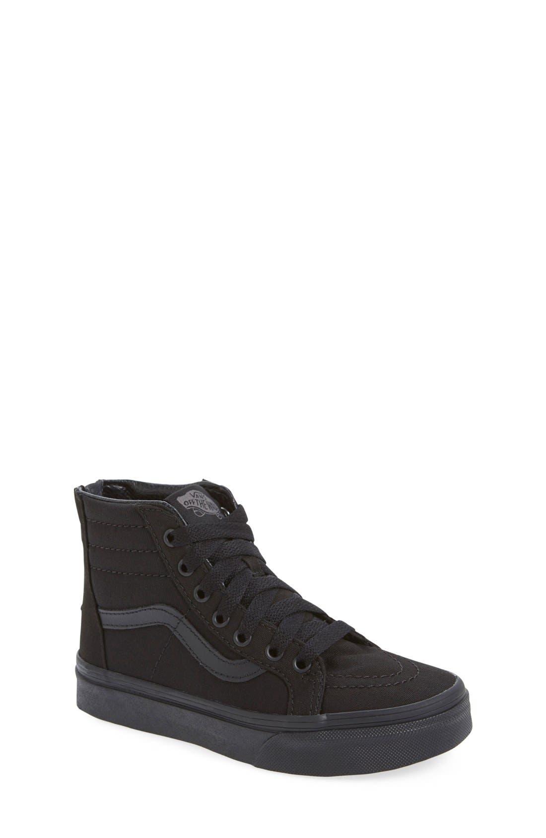 'Sk8-Hi' Zip Sneaker,                         Main,                         color, BLACK /BLACK CHECK
