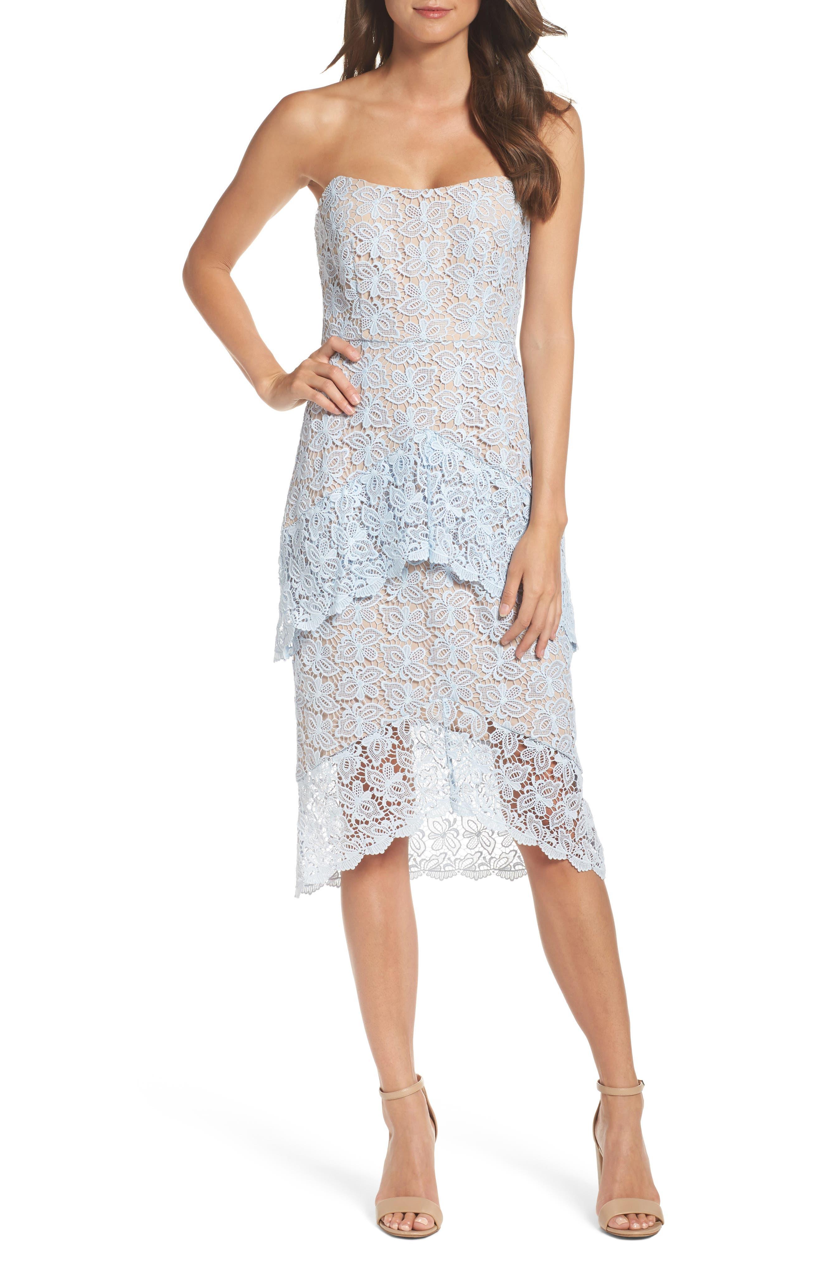 Taha Tiered Lace Midi Dress,                         Main,                         color, 452