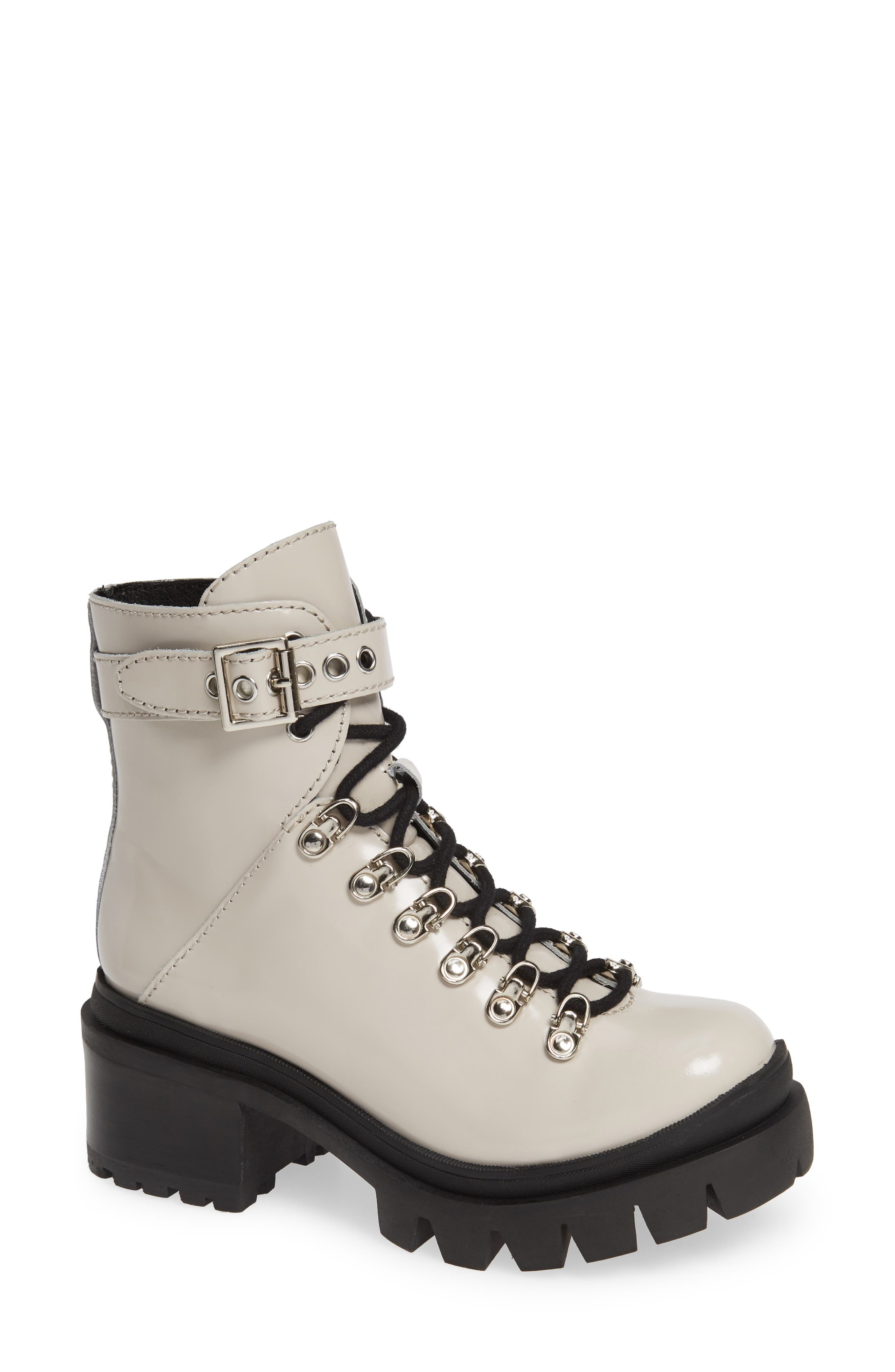 JEFFREY CAMPBELL Czech Lace-Up Boot in Ivory Faux Leather