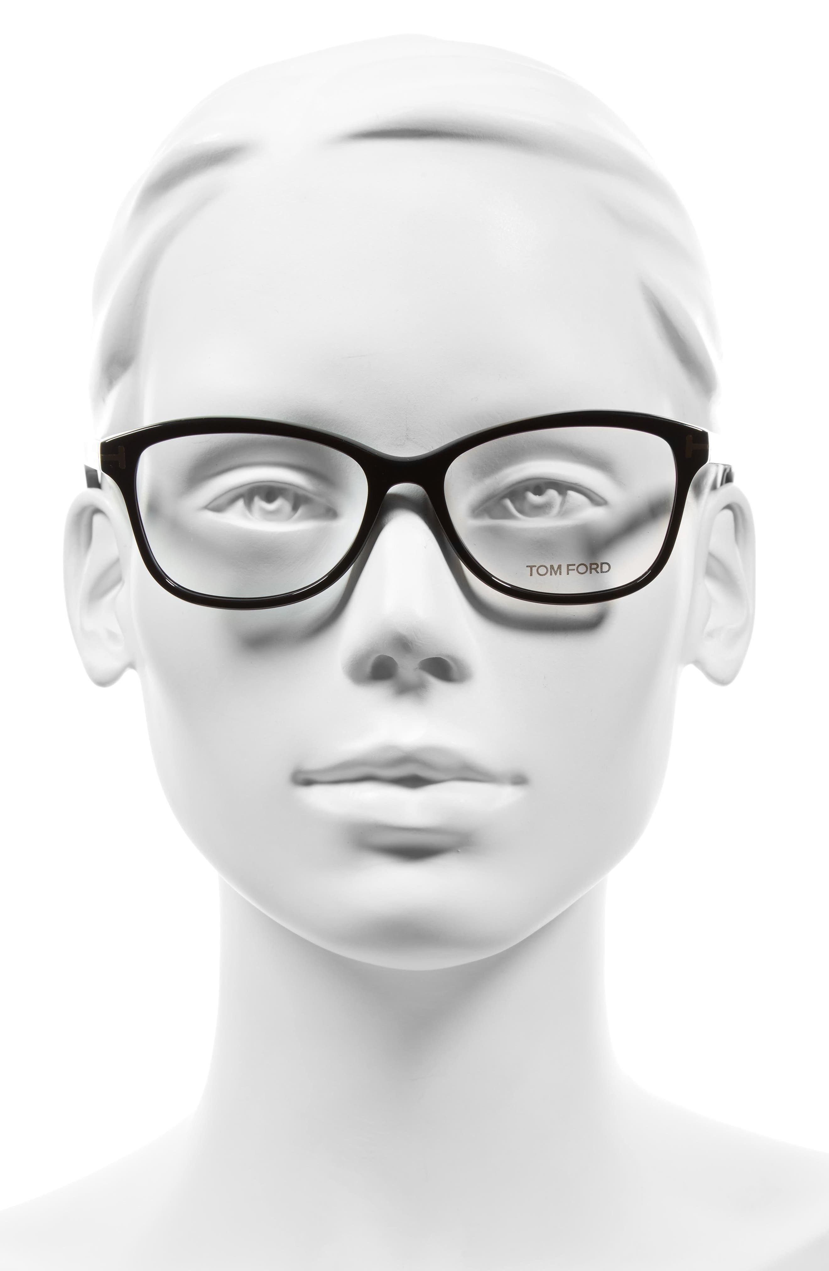 53mm Optical Glasses,                             Alternate thumbnail 2, color,                             SHINY BLACK
