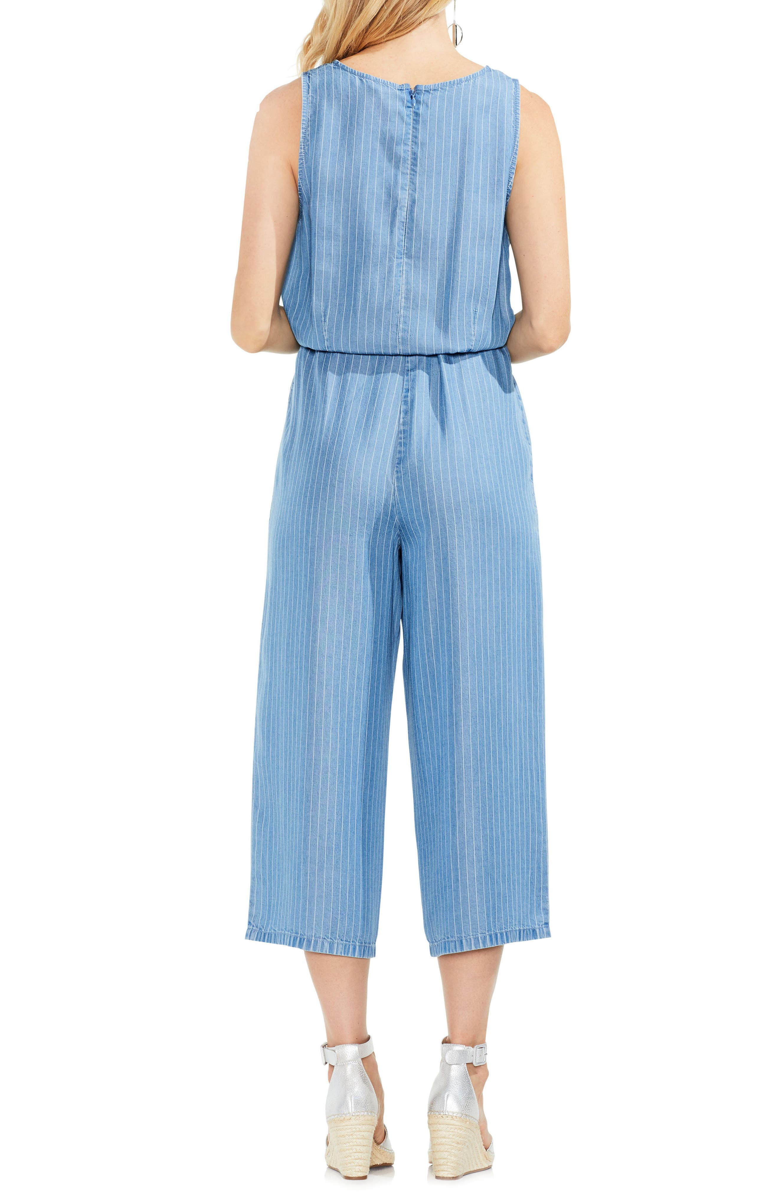 Sleeveless Stripe Belted Jumpsuit,                             Alternate thumbnail 2, color,                             488