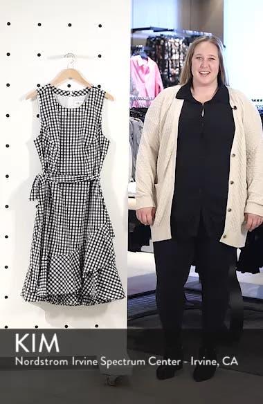 Belted Ruffle Hem Gingham Dress, sales video thumbnail