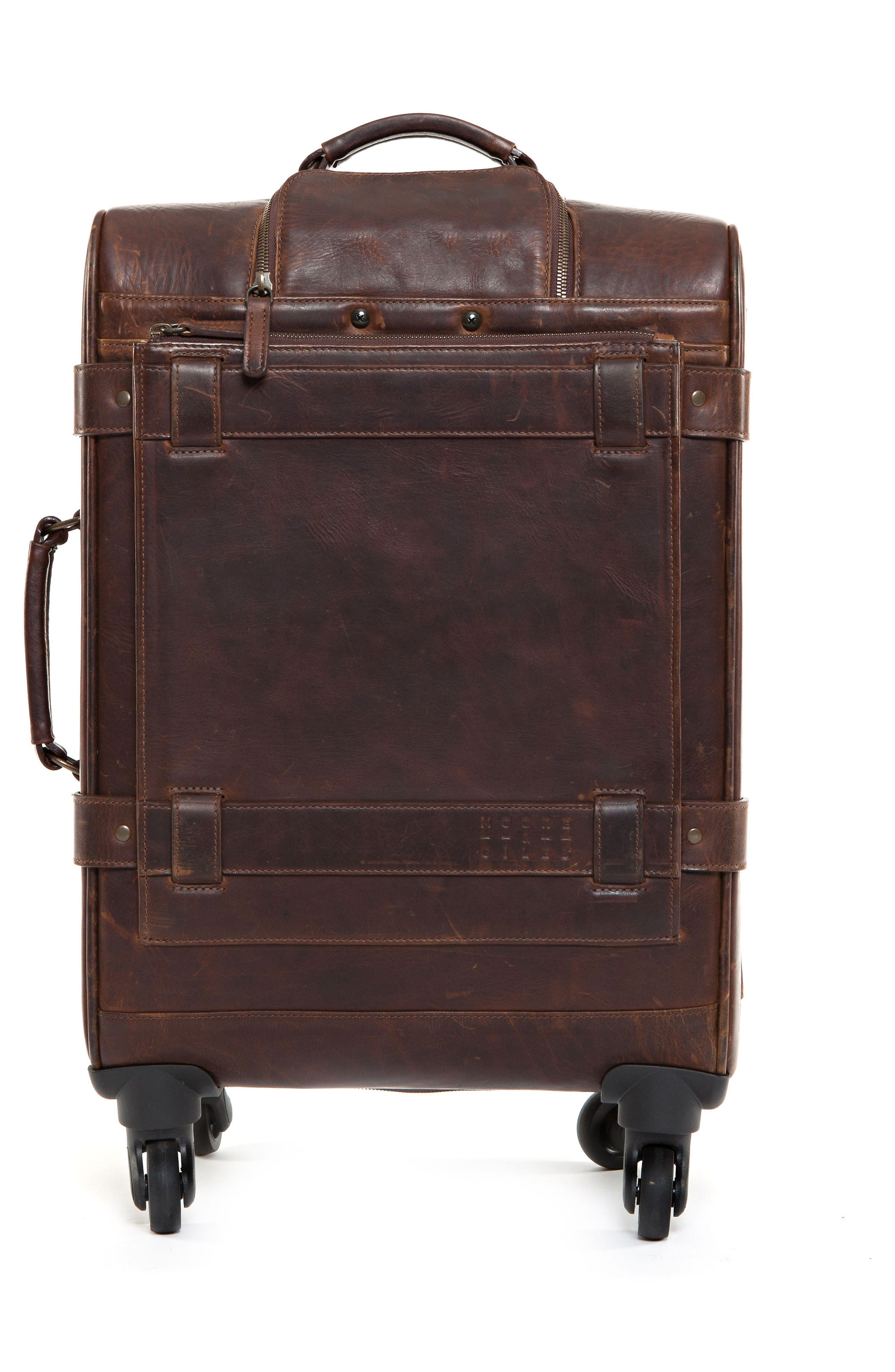 Parker 22-Inch Leather Wheeled Suitcase,                             Alternate thumbnail 4, color,                             BALDWIN OAK