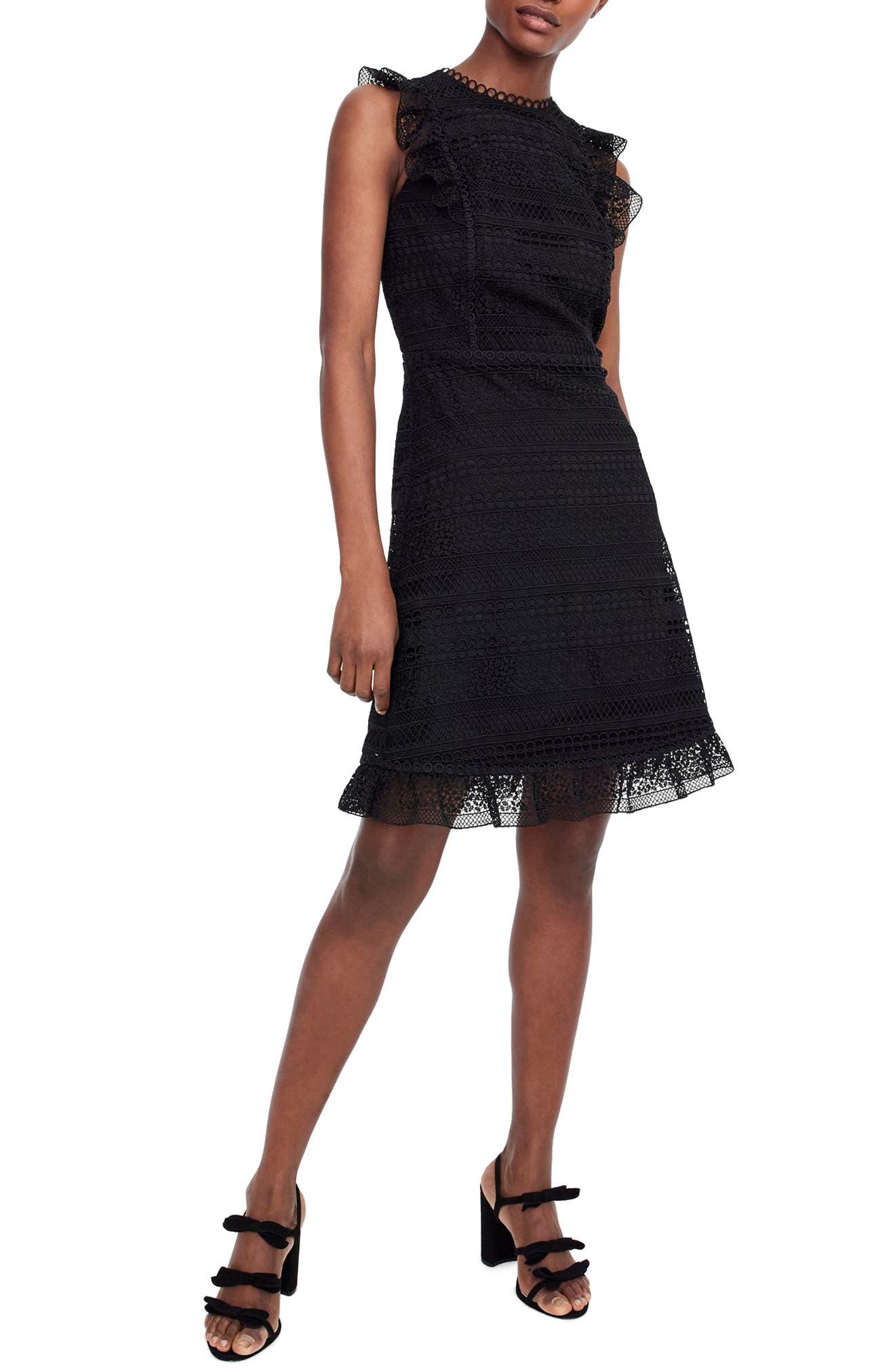 Cap Sleeve Ruffle Lace Dress,                             Main thumbnail 1, color,