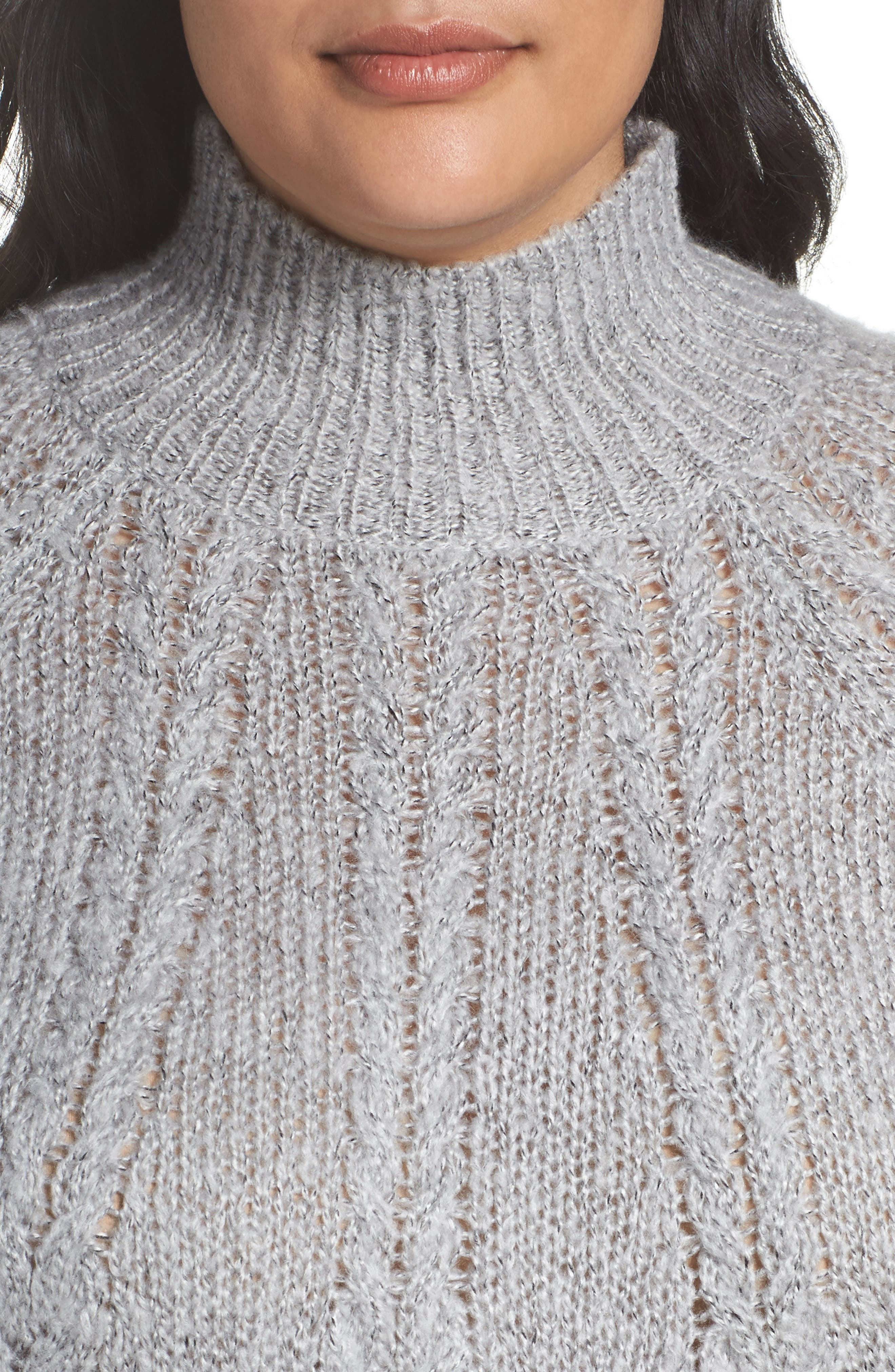 Cable Knit Tunic Sweater,                             Alternate thumbnail 4, color,                             030