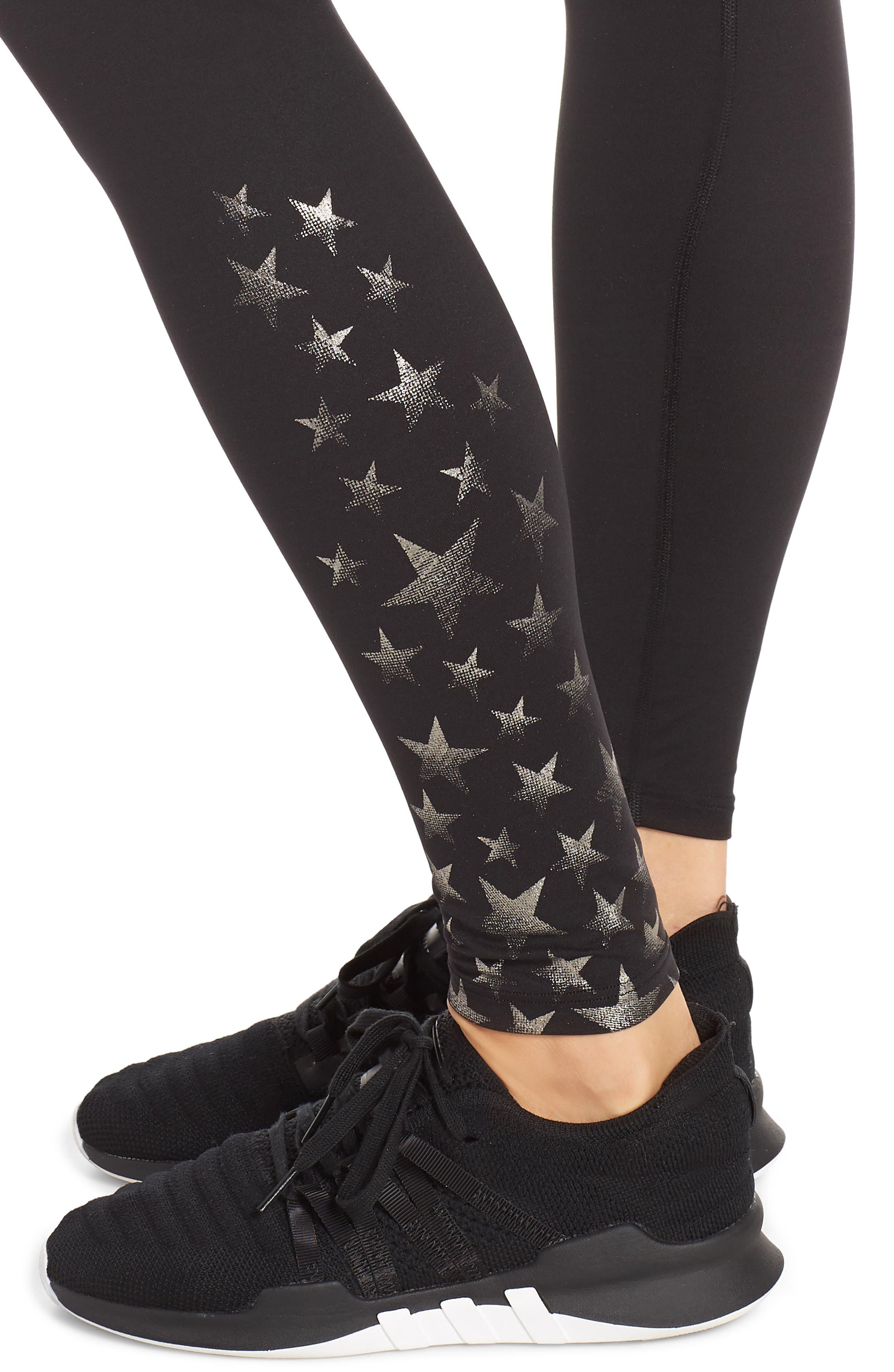 Active Full Length Leggings,                             Alternate thumbnail 4, color,                             METALLIC STAR
