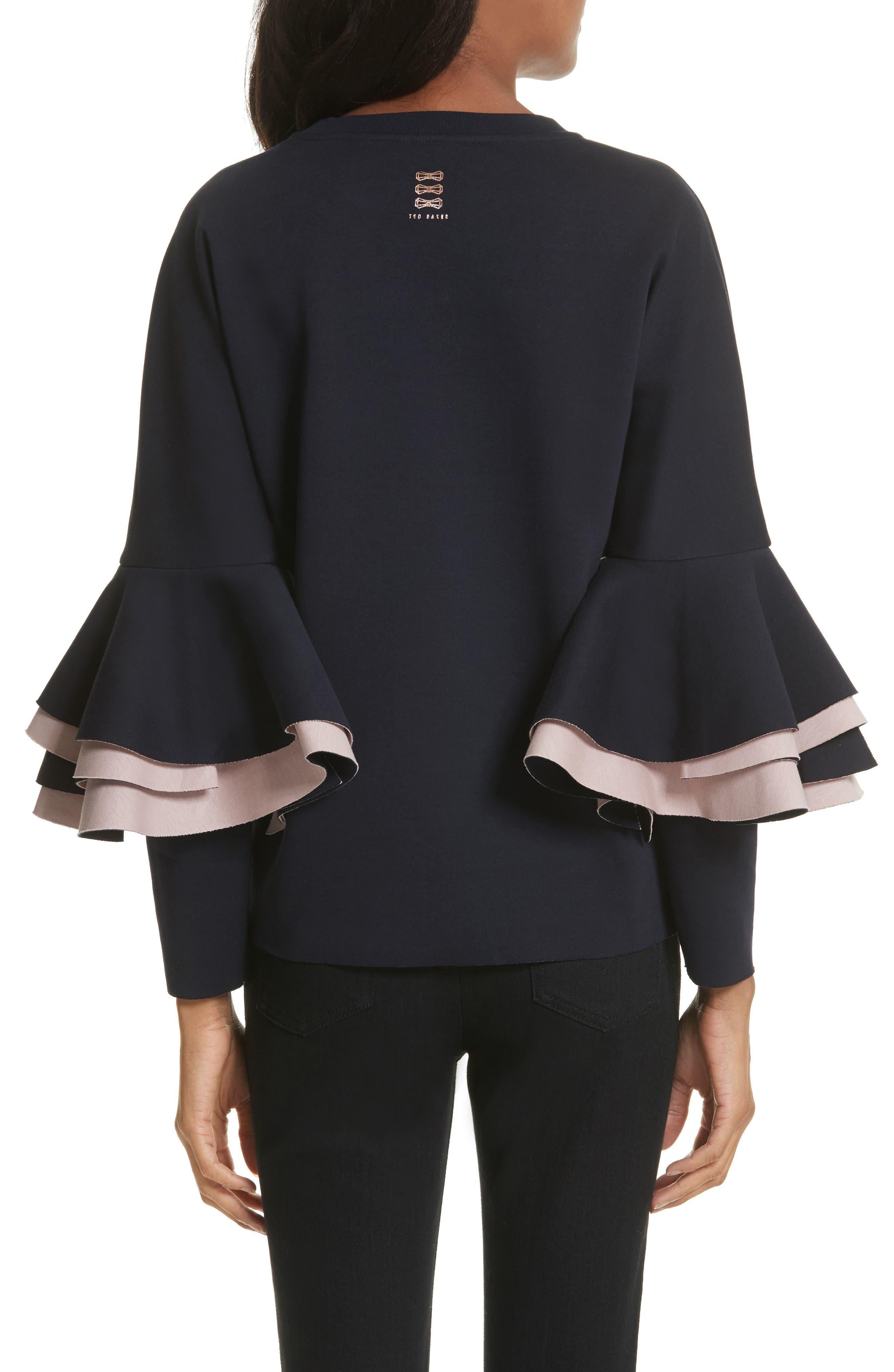 Frill Sleeve Sweatshirt,                             Alternate thumbnail 3, color,